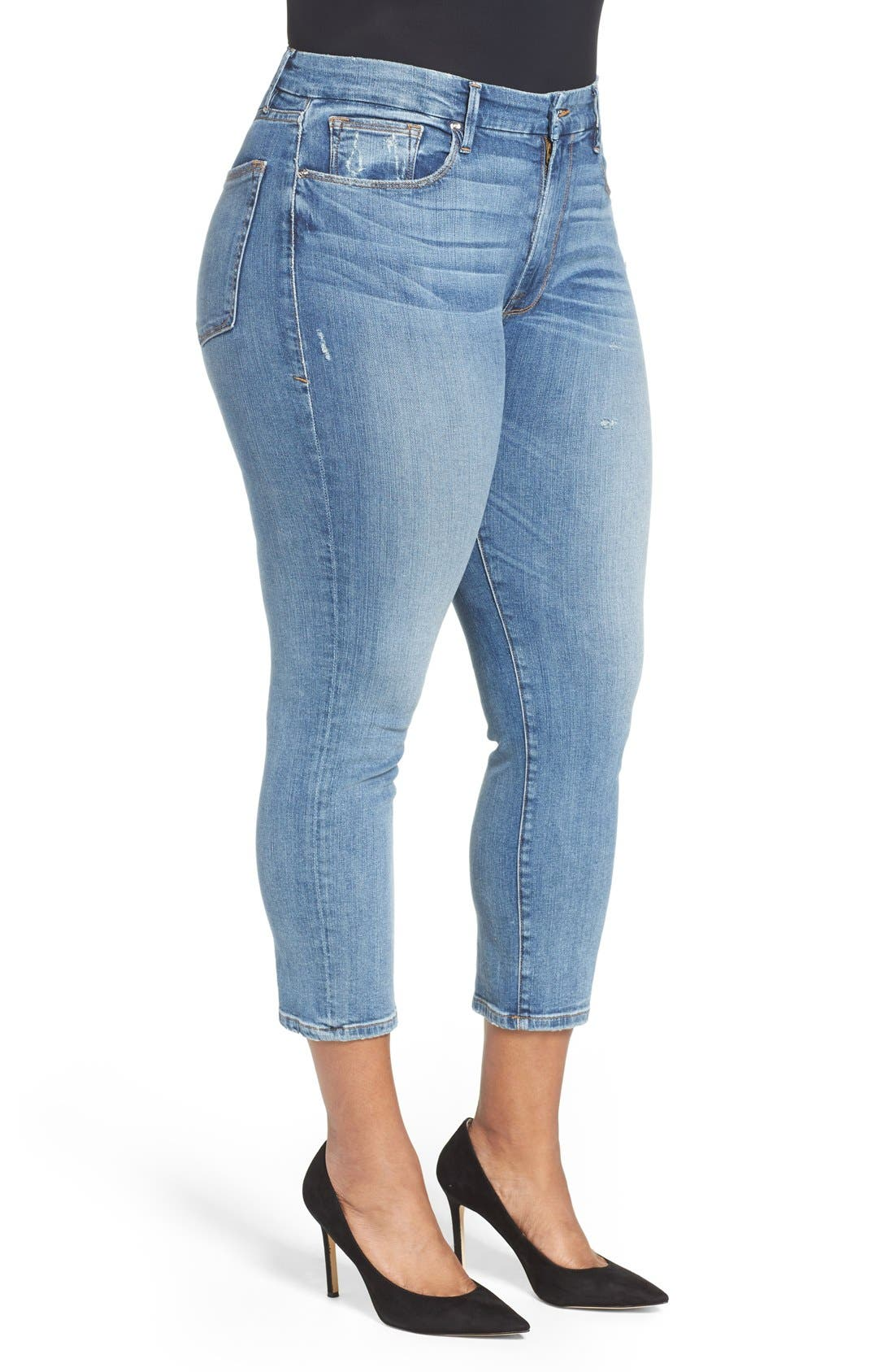 Alternate Image 7  - Good American Good Cuts High Rise Boyfriend Jeans (Blue 012) (Extended Sizes)