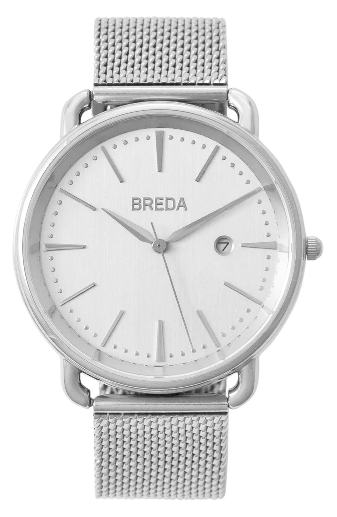 BREDA Linx Round Mesh Strap Watch, 42mm