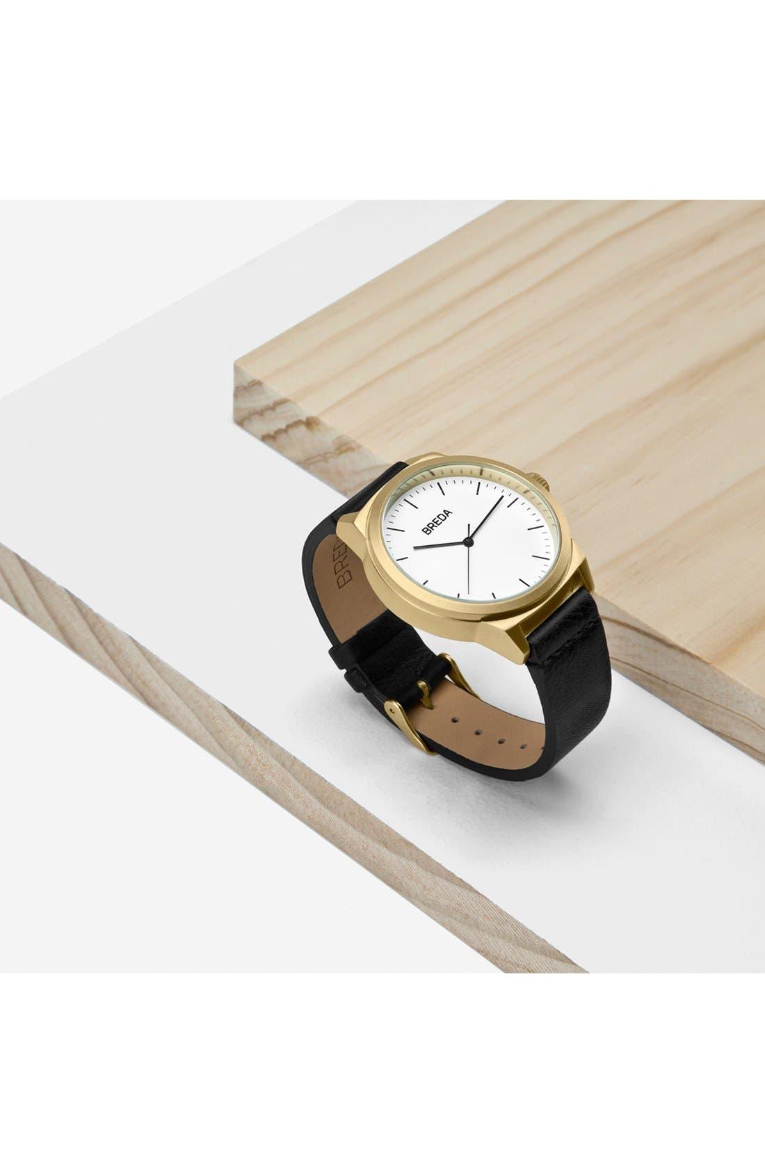 Alternate Image 4  - BREDA Rand Round Leather Strap Watch, 43mm