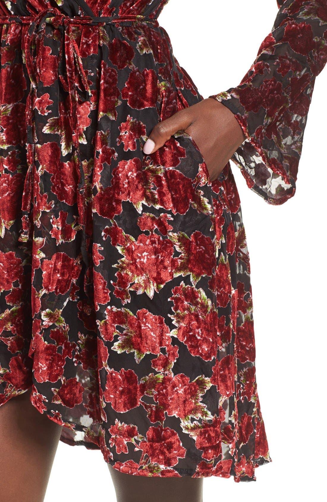 Alternate Image 4  - Band of Gypsies Floral Velvet Dress