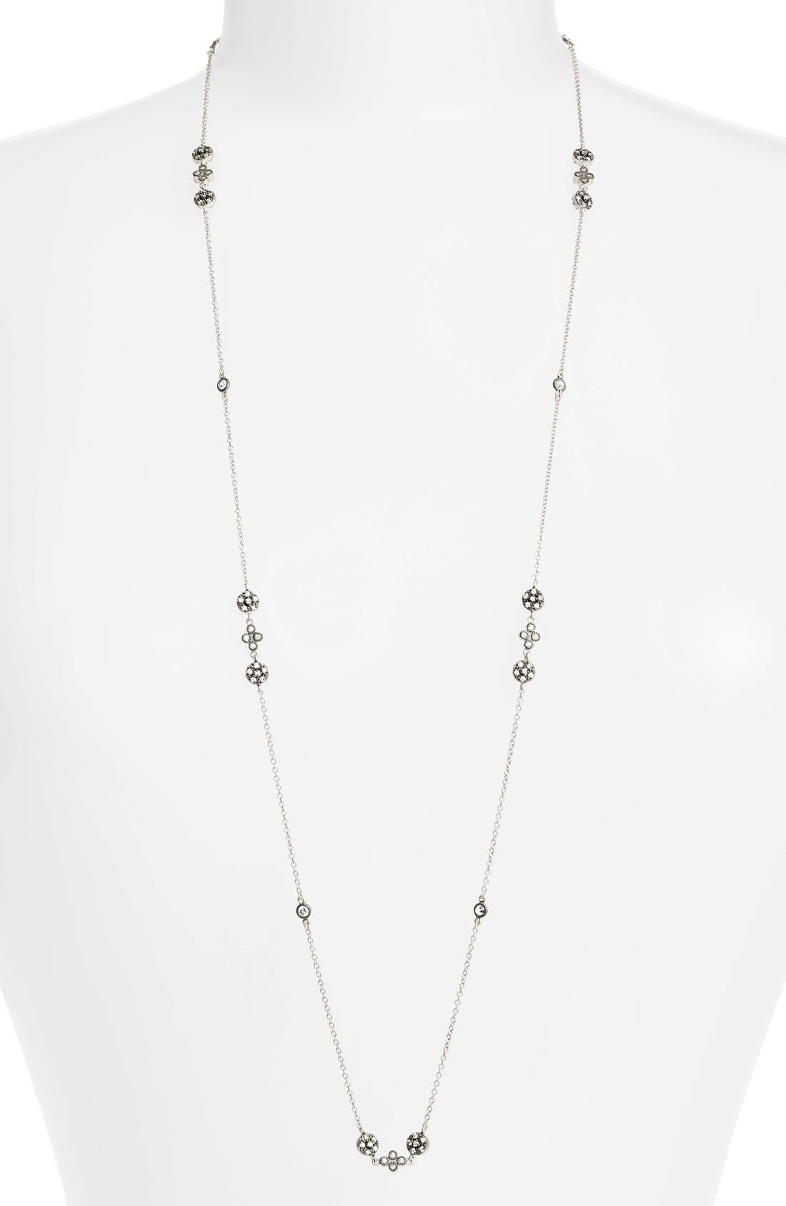 'Metropolitan' Long Station Necklace,                         Main,                         color, Rhodium/ Black Rhodium