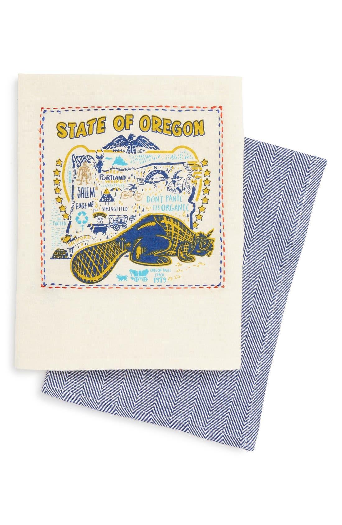 Set of 2 State Dish Towels,                         Main,                         color, Oregon