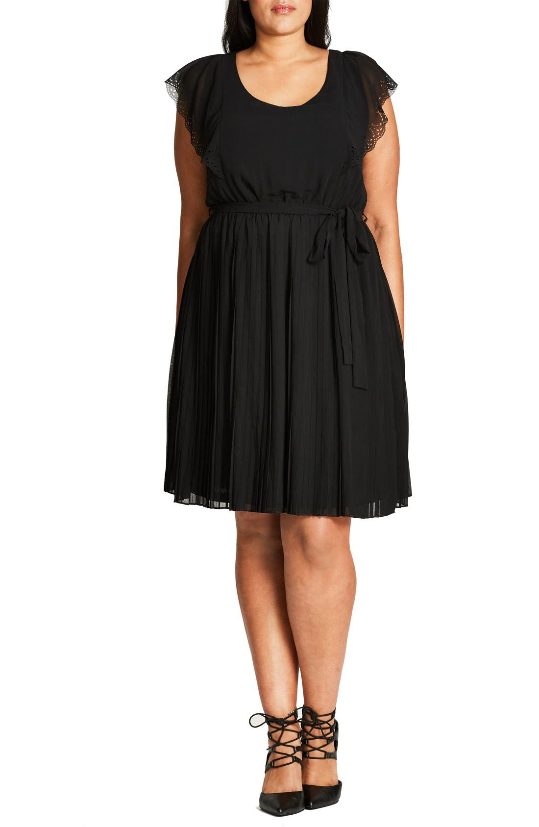 City Chic 'Cute Cutout' Belted Chiffon Dress