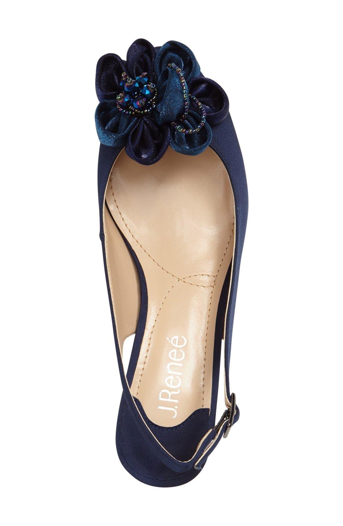 Leonelle Slingback Crystal Embellished Sandal,                             Alternate thumbnail 3, color,                             Navy Satin