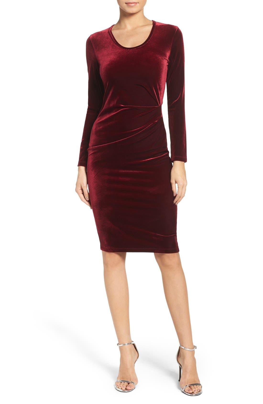 Velvet Body-Con Dress,                             Main thumbnail 1, color,                             Wine
