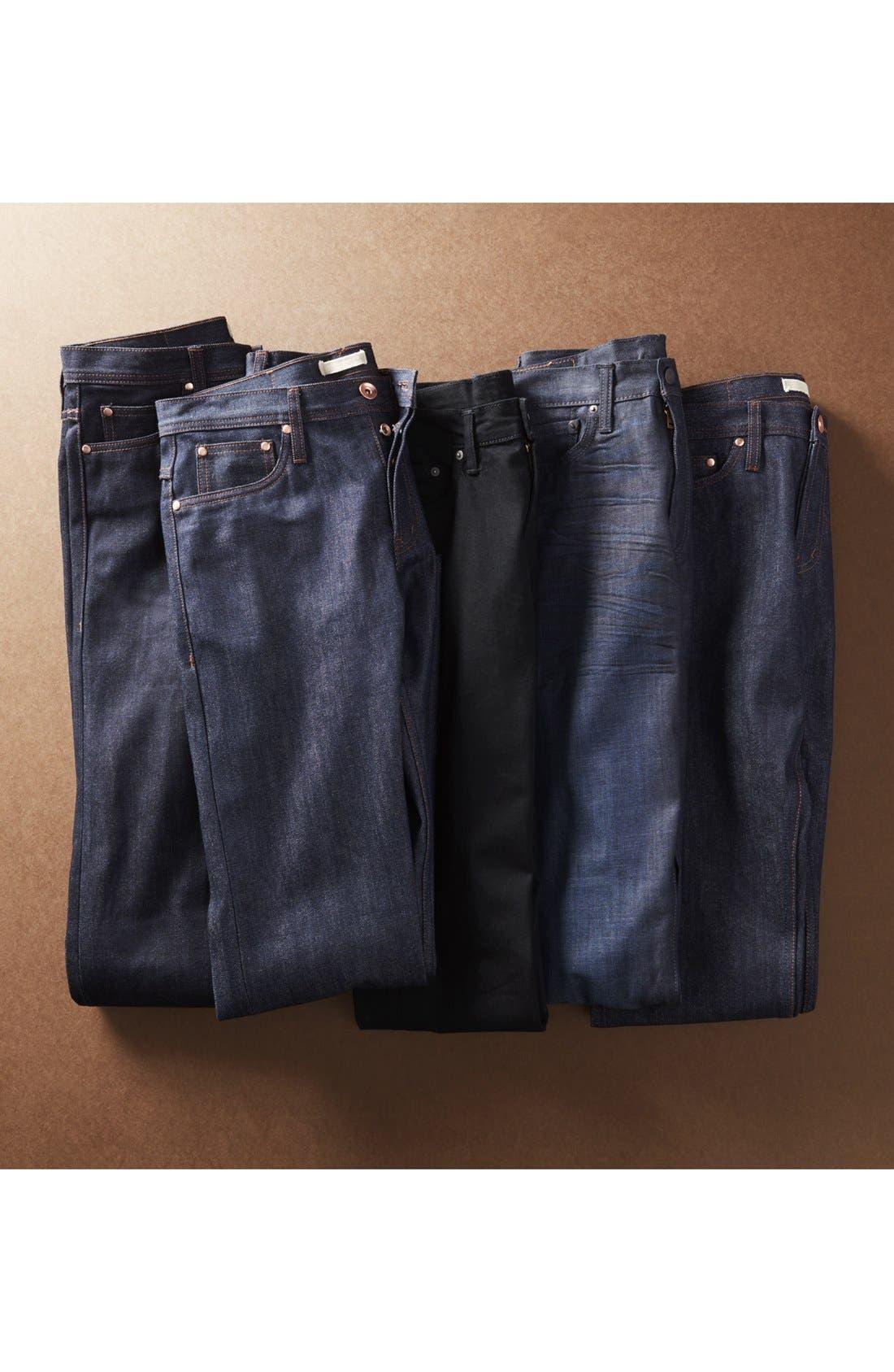 Alternate Image 7  - The Unbranded Brand UB301 Straight Leg Raw Selvedge Jeans (Indigo)