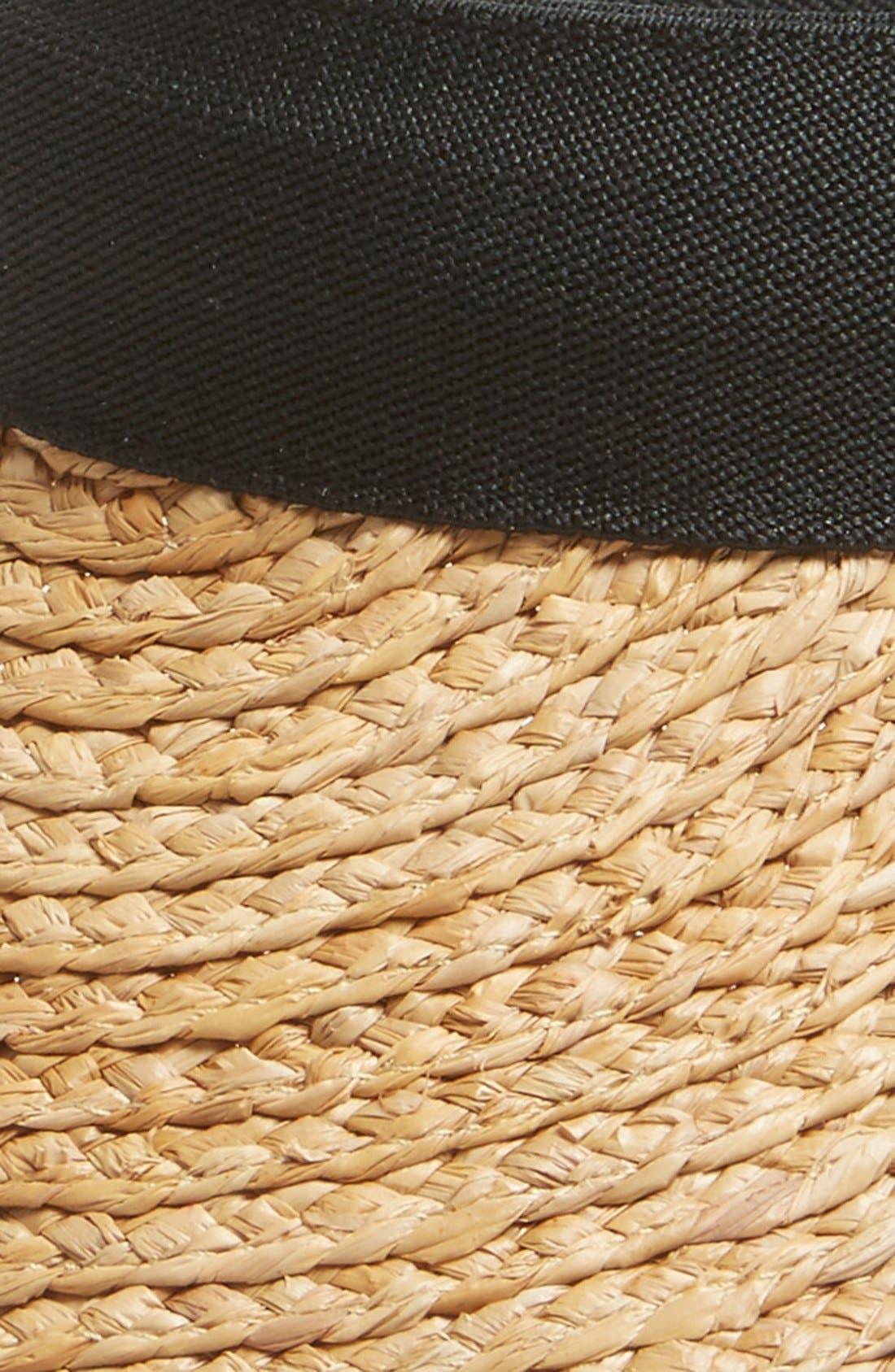 Plaited Straw Visor,                             Alternate thumbnail 2, color,                             Black Combo