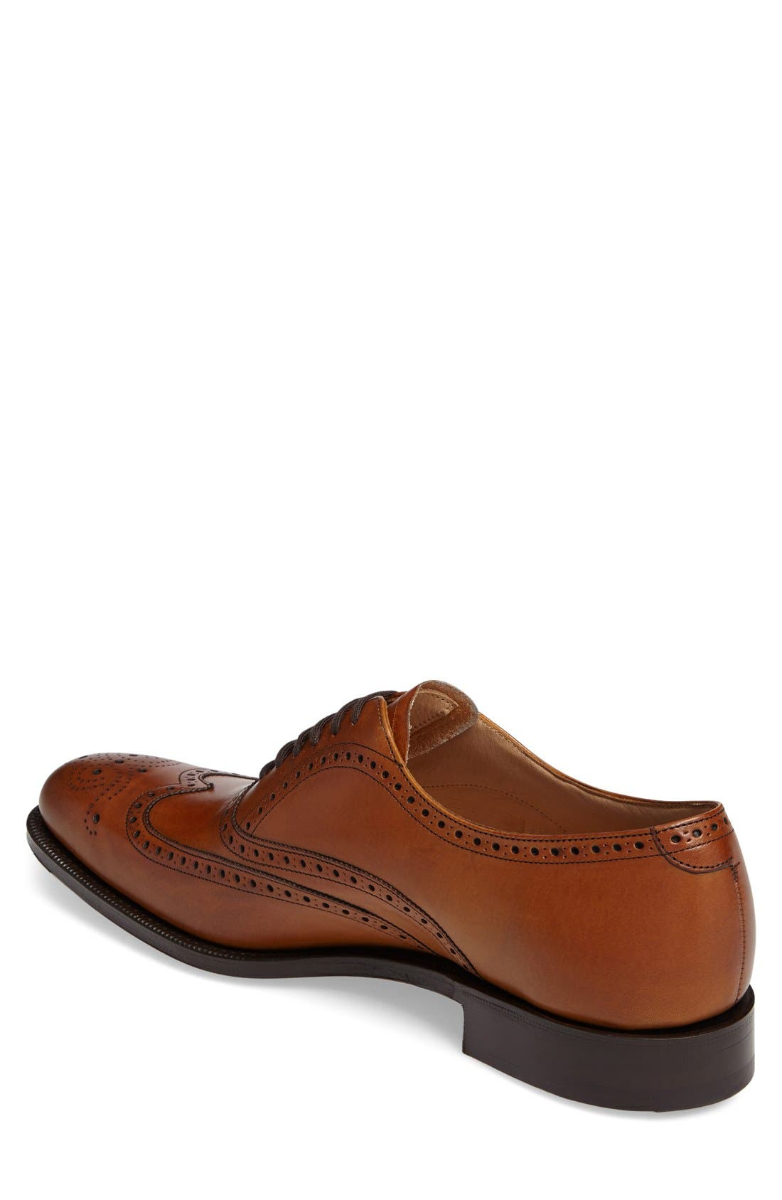 'Berlin' Wingtip Oxford,                             Alternate thumbnail 2, color,                             Brown Leather