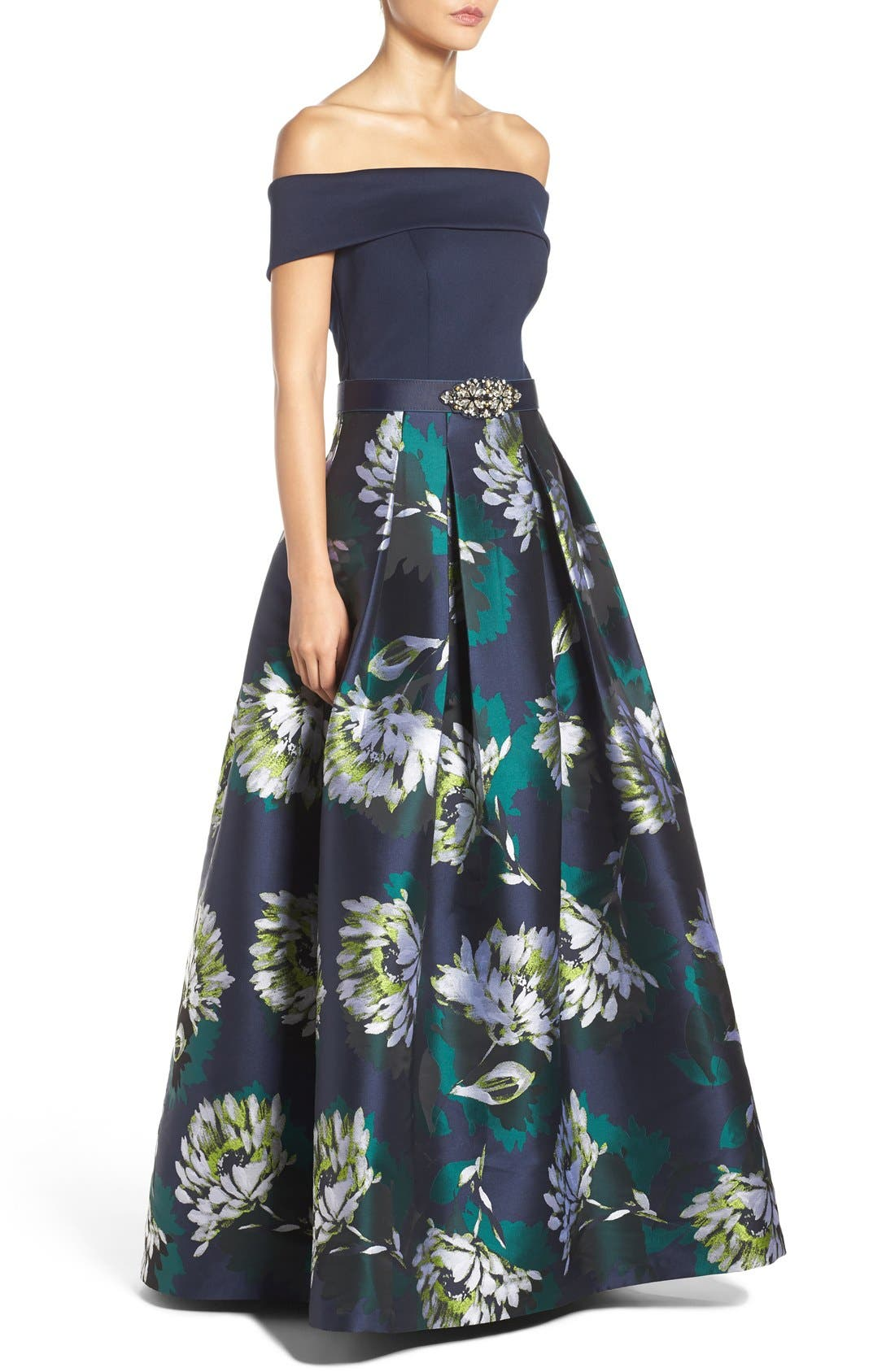 Off the Shoulder Ballgown,                             Alternate thumbnail 3, color,                             Navy/ Lime
