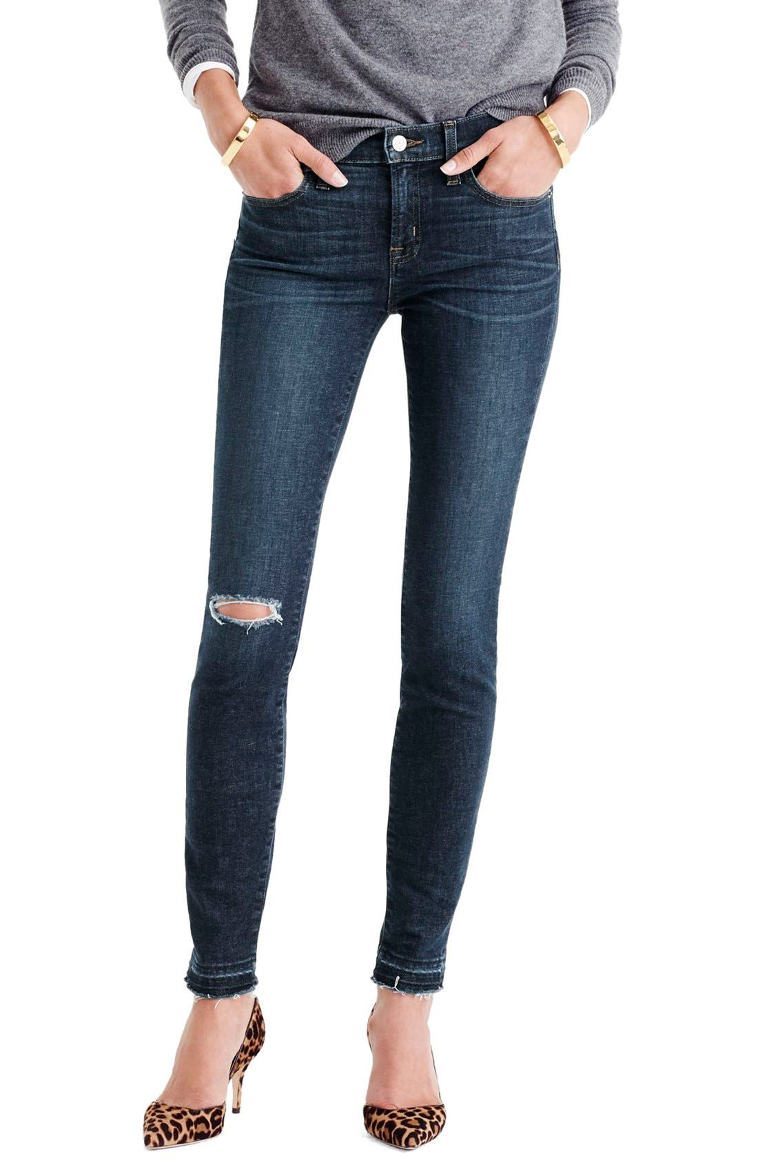 Main Image - J.Crew Toothpick Jeans (Point Lake) (Regular and Petite)