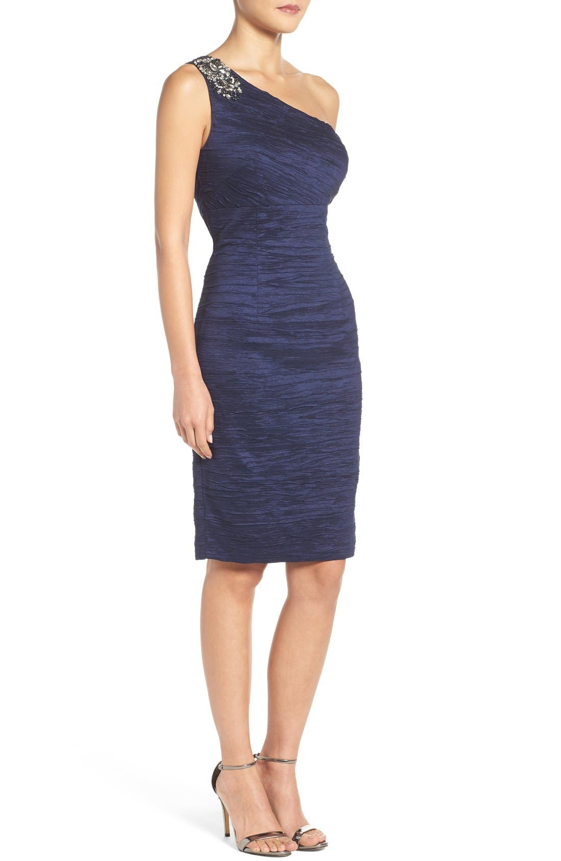 Alternate Image 3  - Eliza J Embellished Taffeta Sheath Dress (Regular & Petite)