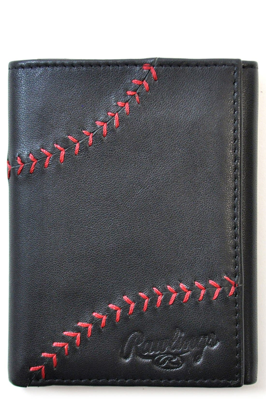 Baseball Stitch Leather Trifold Wallet,                             Main thumbnail 1, color,                             Black