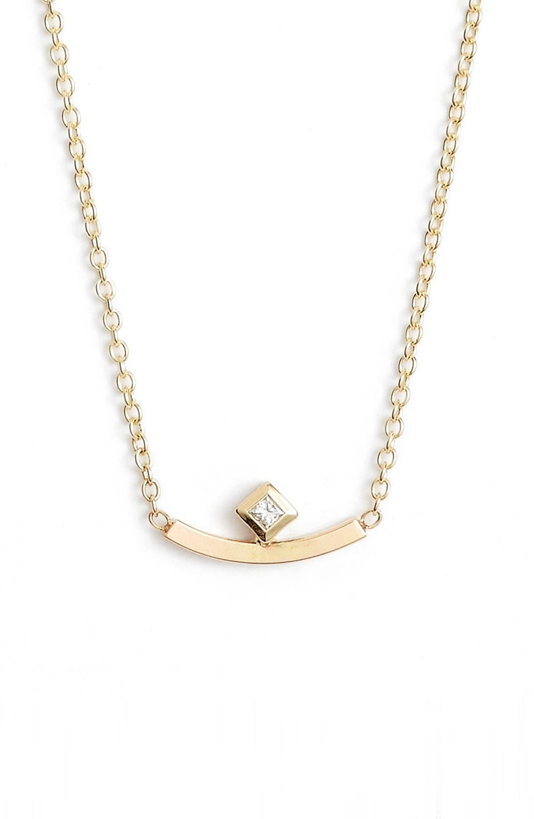 Diamond Curved Bar Necklace,                         Main,                         color, Yellow Gold