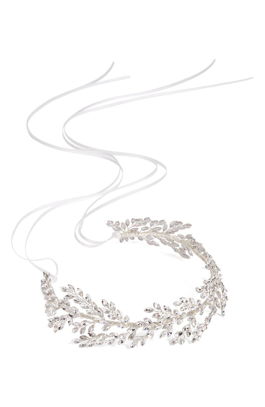 Alternate Image 5  - Brides & Hairpins Kira Crystal Halo & Sash