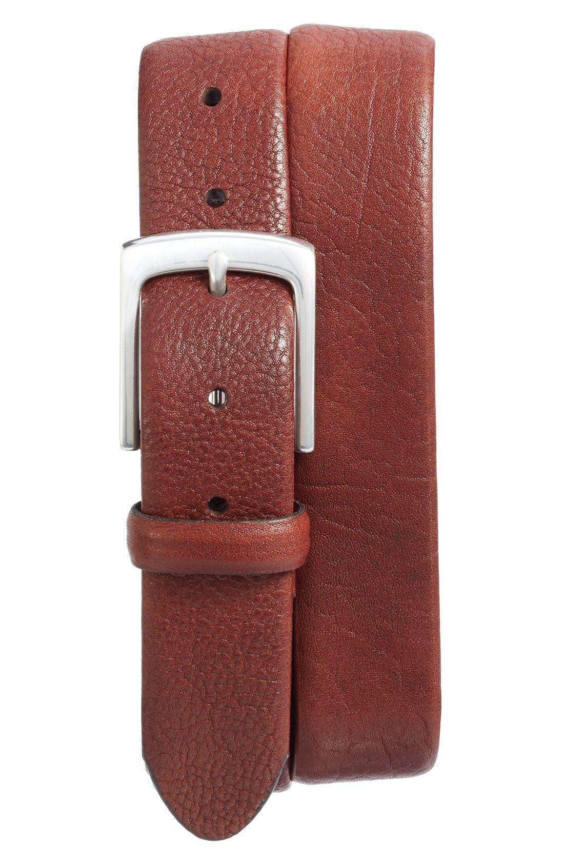 Tubular Leather Belt,                             Main thumbnail 1, color,                             Dark Brown