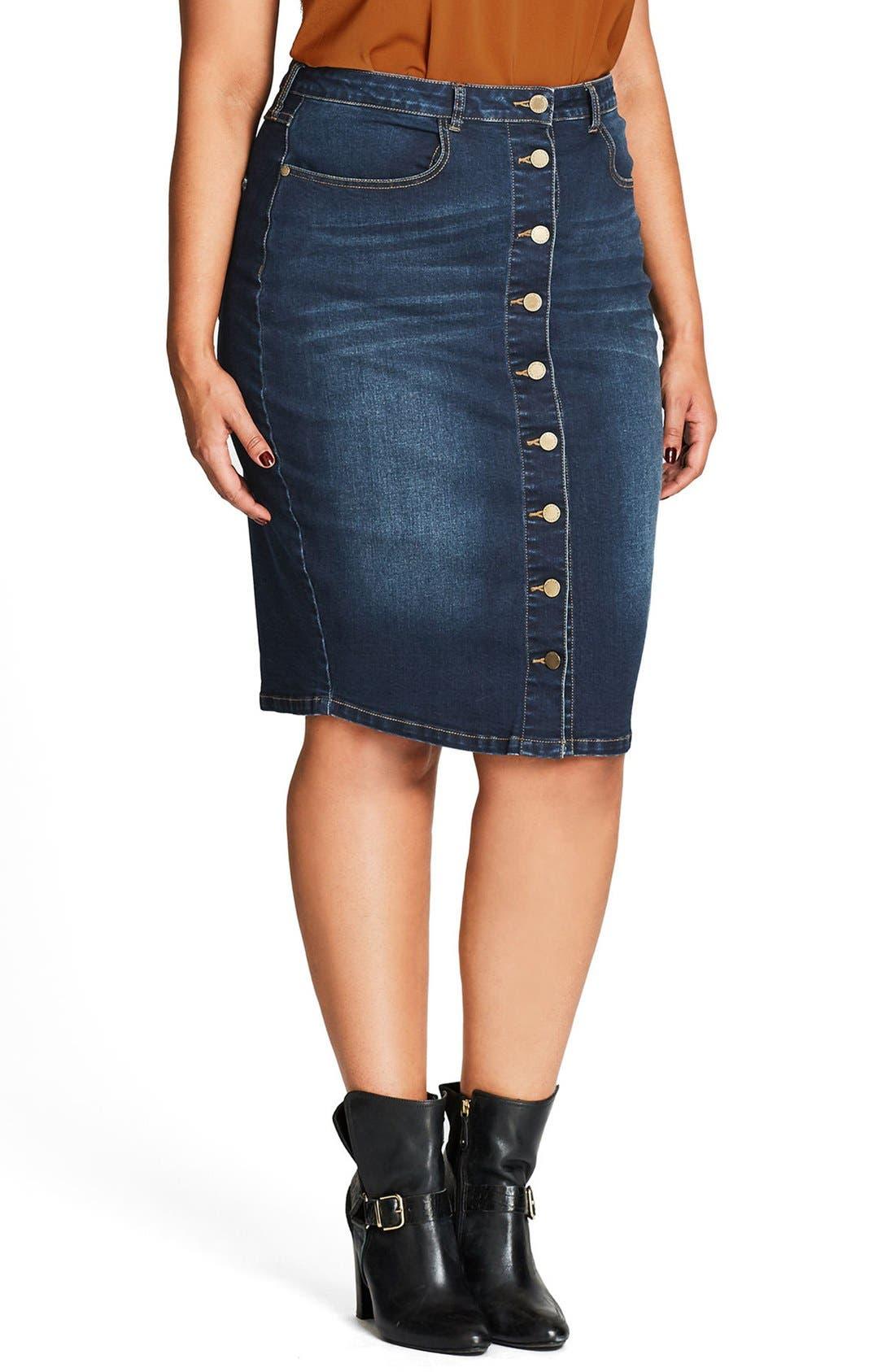 Pin Up Denim Skirt,                             Alternate thumbnail 5, color,                             Denim Mid