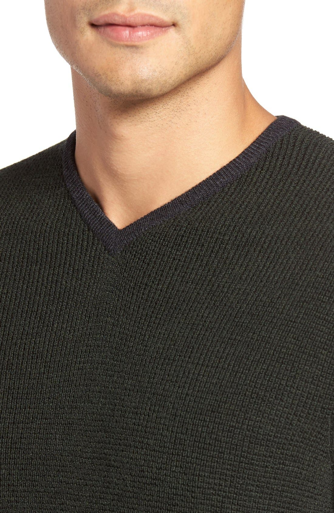 Alternate Image 4  - Zachary Prell V-Neck Colorblock Merino Wool Pullover