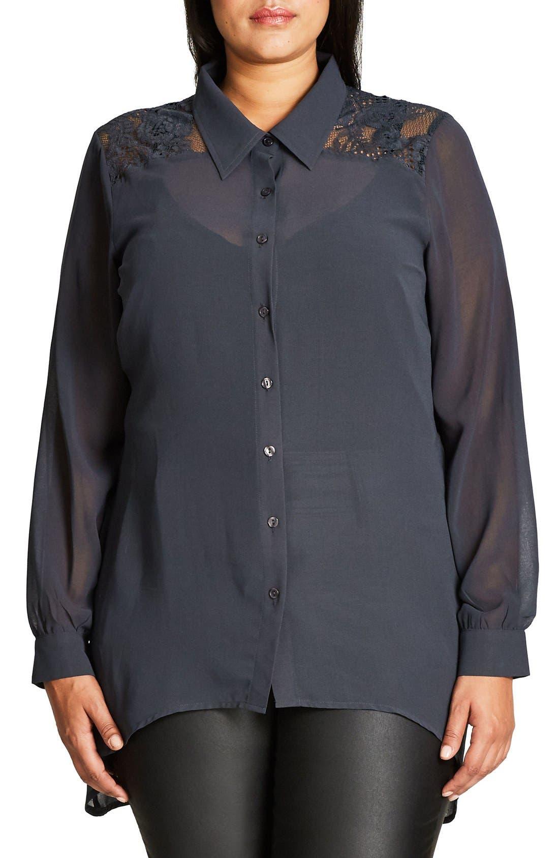 City Chic Flutter Lace Shirt (Plus Size)