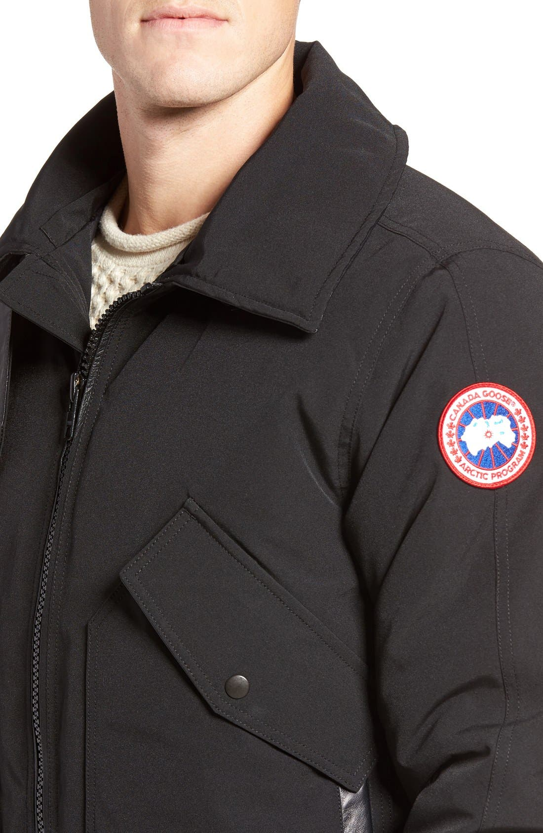 Bromley Down Bomber Jacket with Genuine Shearling Collar,                             Alternate thumbnail 4, color,                             Black