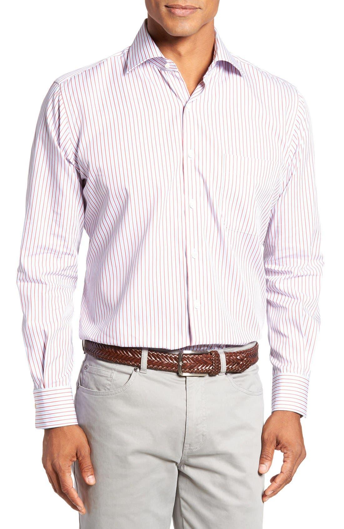 Summer Stripe Regular Fit Sport Shirt,                             Main thumbnail 1, color,                             Cape Red