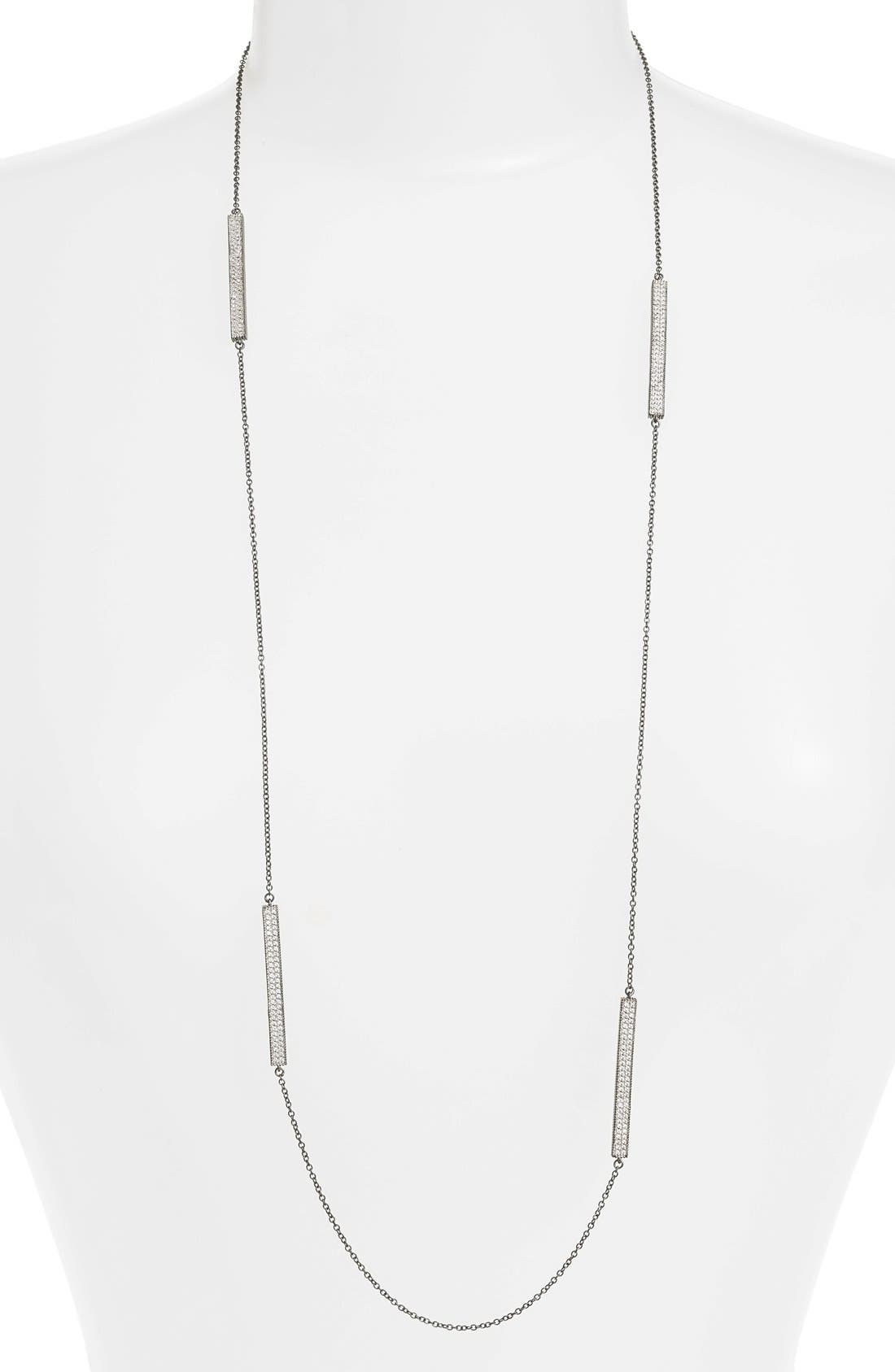 Contemporary Deco Station Necklace,                         Main,                         color, Silver/ Gunmetal