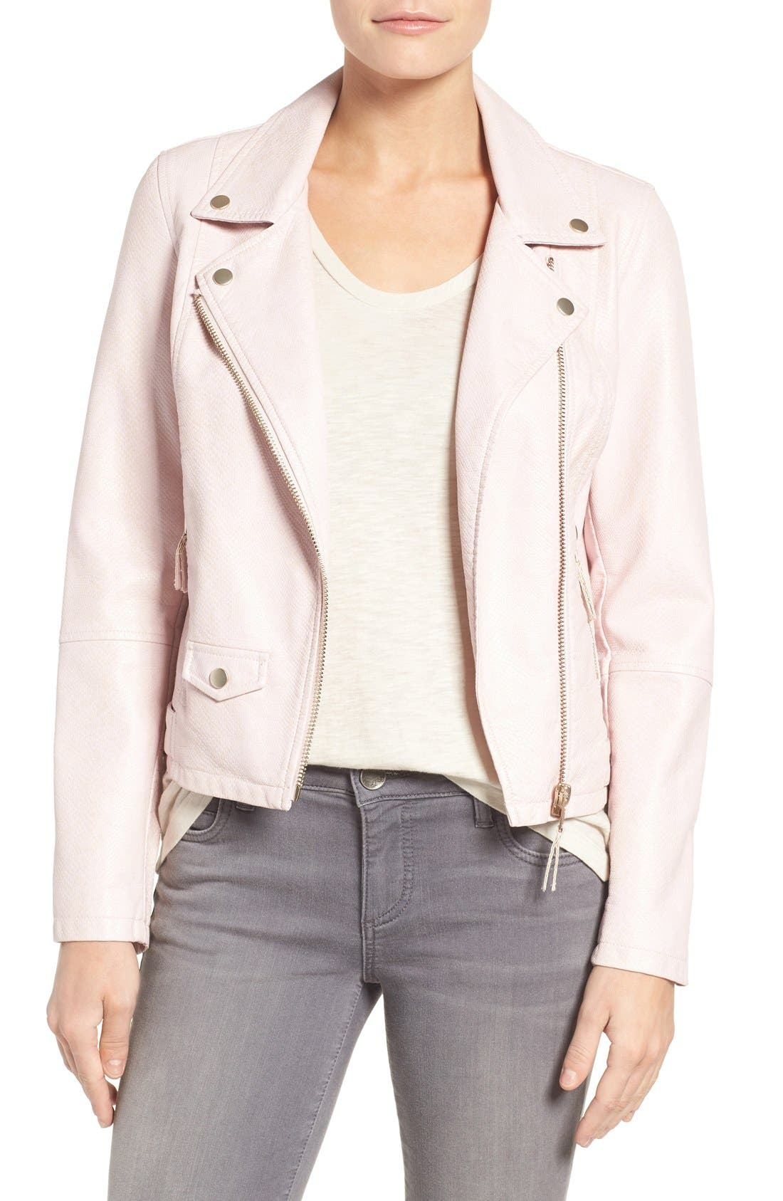 Brooke Faux Leather Moto Jacket,                             Main thumbnail 1, color,                             Blush