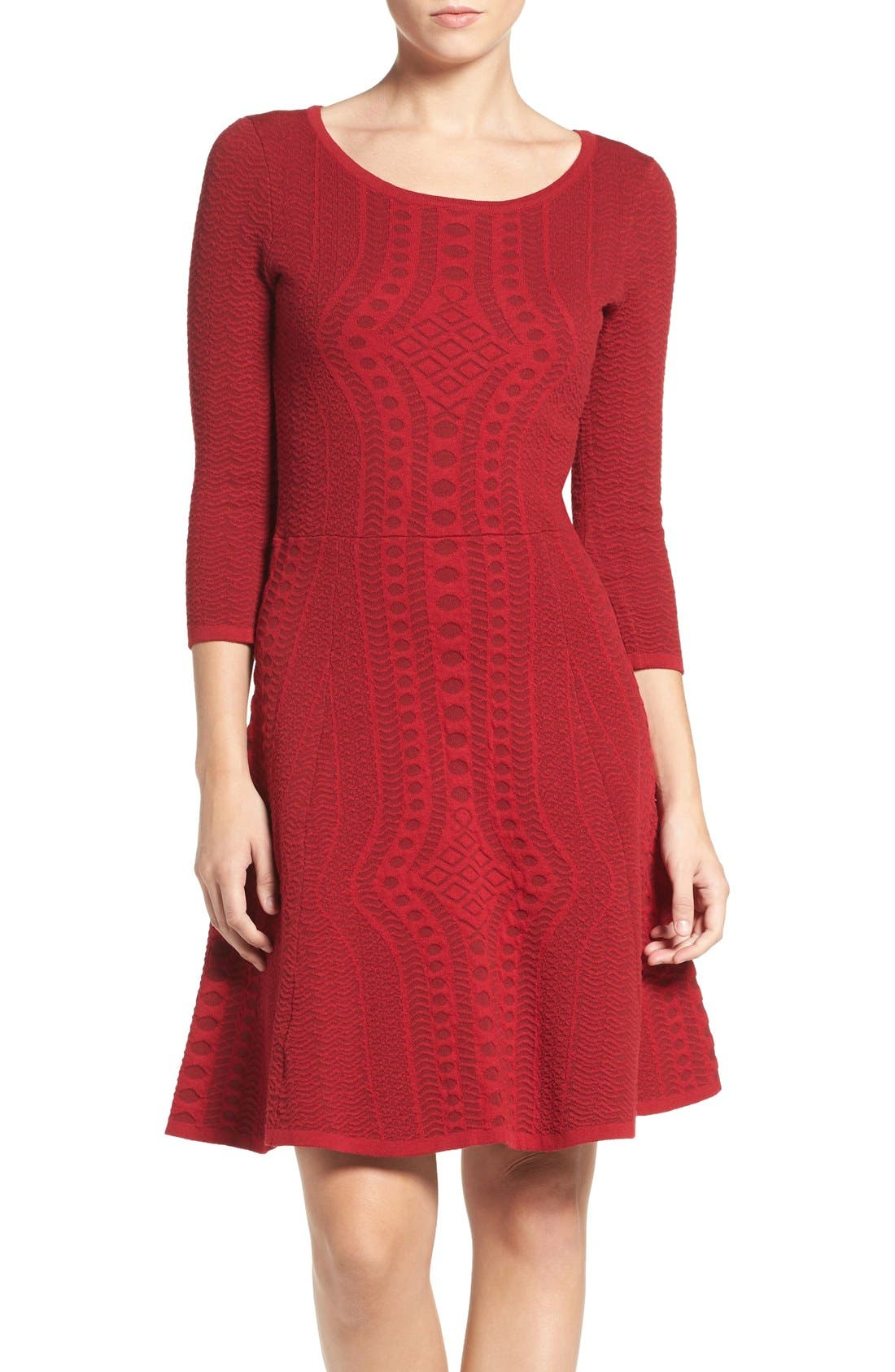 Fit & Flare Sweater Dress,                         Main,                         color, Red