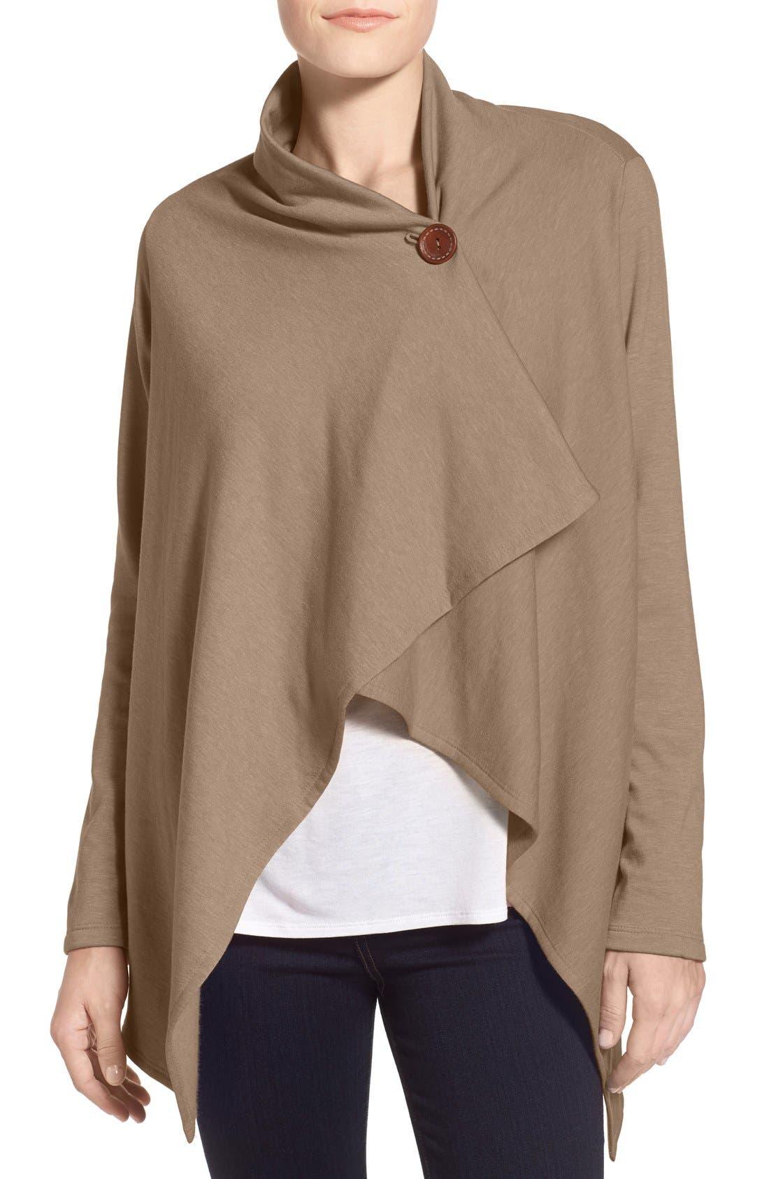 One-Button Fleece Wrap Cardigan,                         Main,                         color, Mink