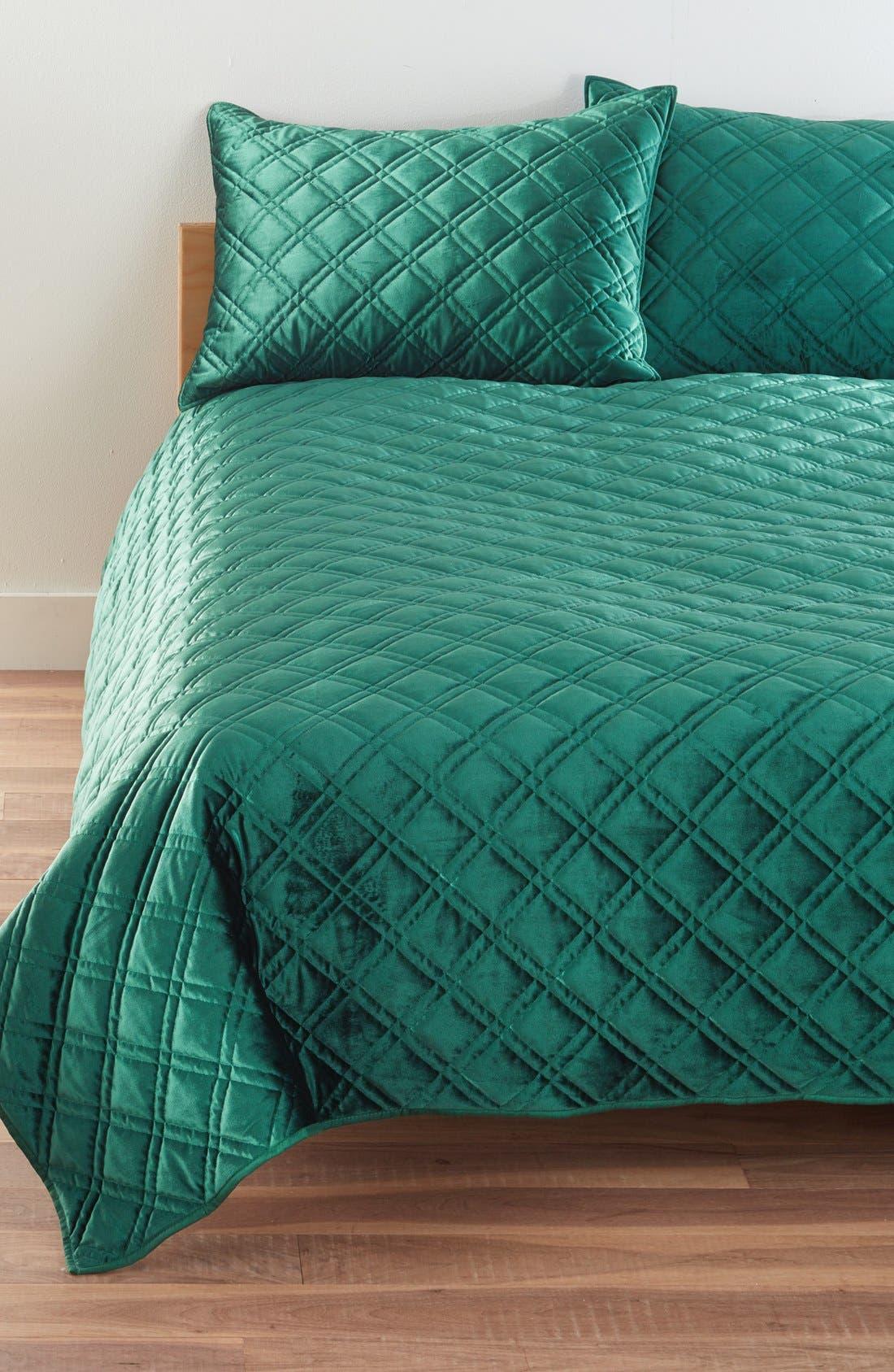 Velvet Quilt,                         Main,                         color, Emerald