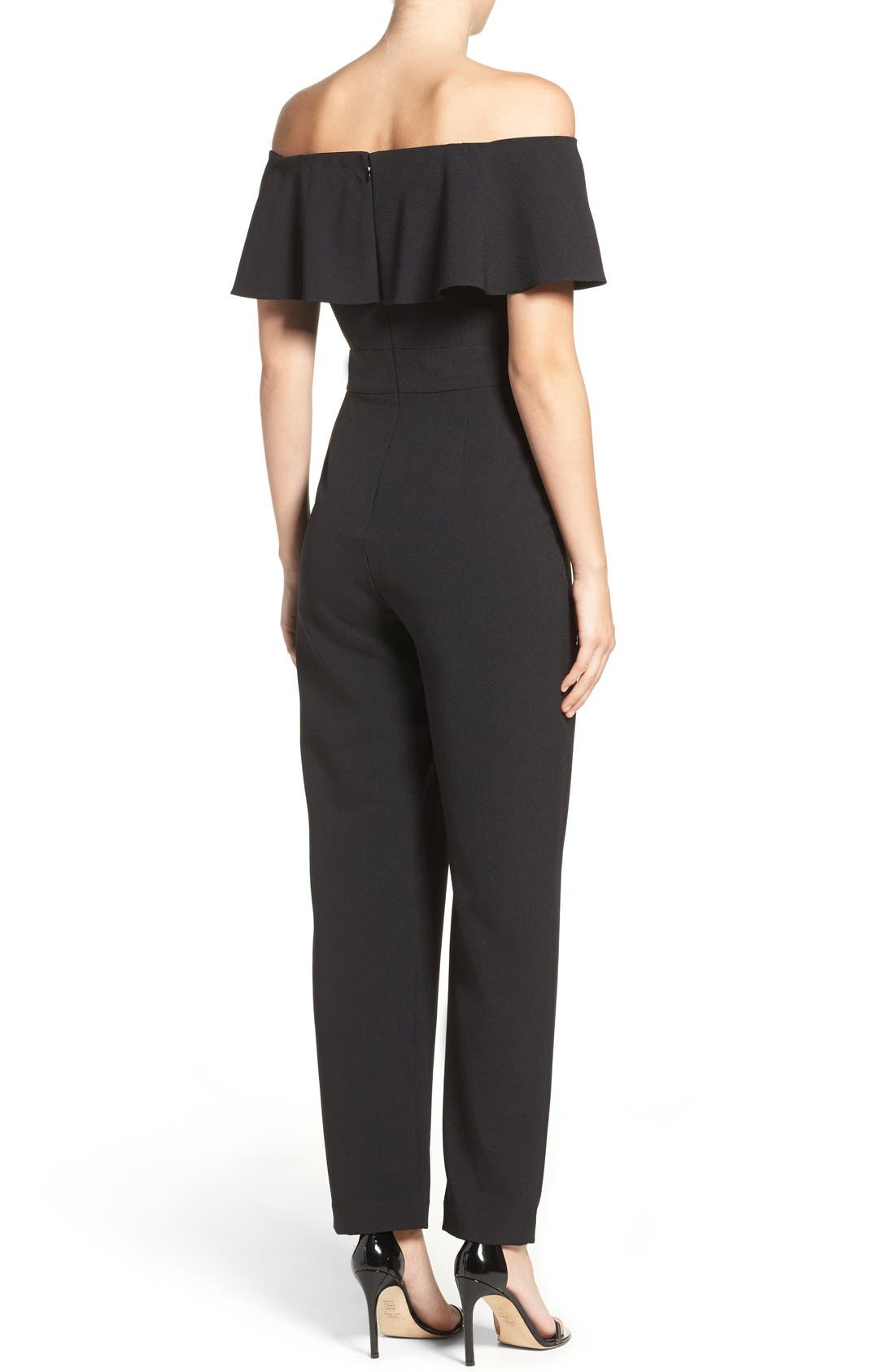 Ruffle Jumpsuit,                             Alternate thumbnail 2, color,                             Black