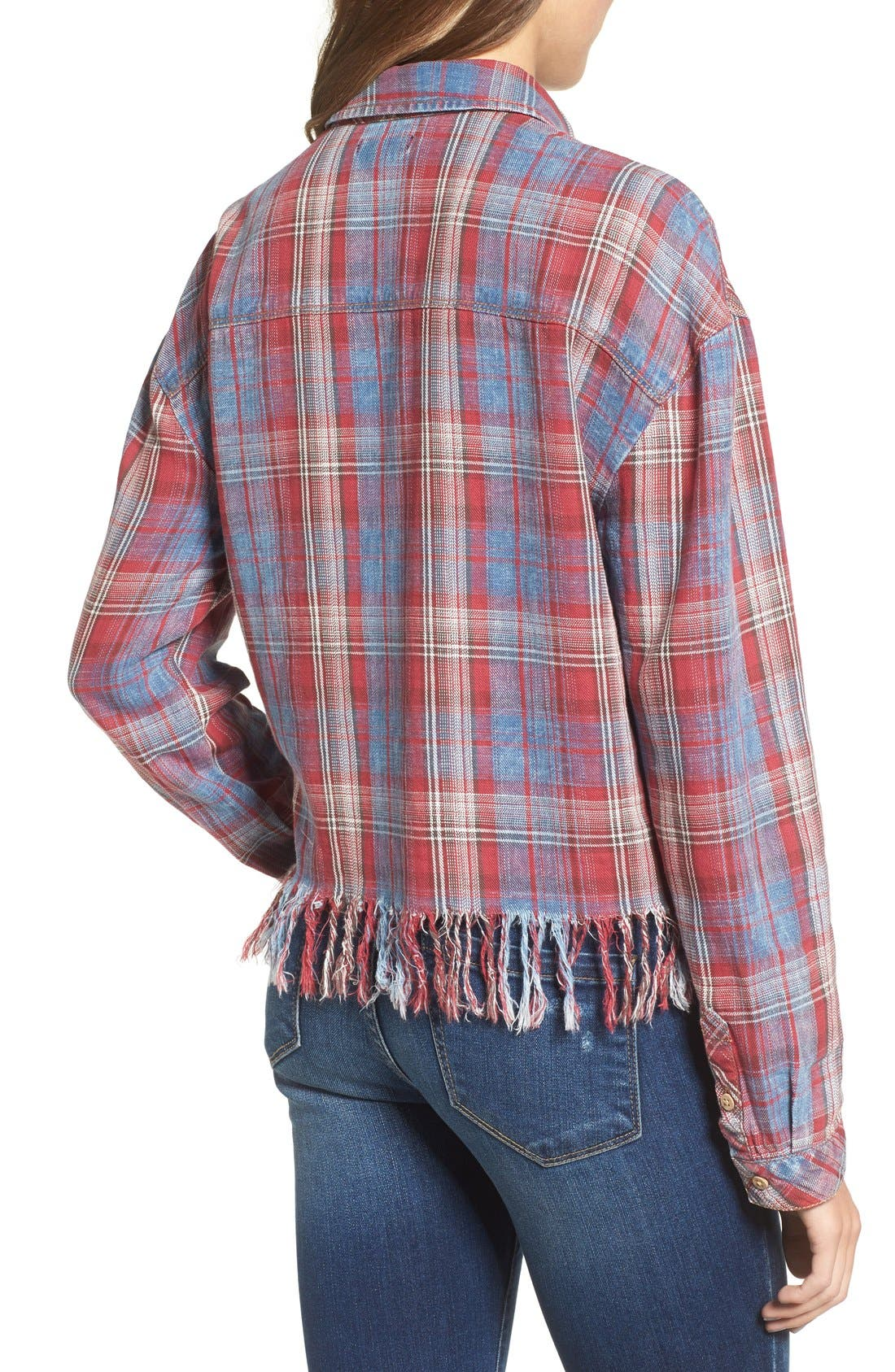 Frayed Plaid Shirt,                             Alternate thumbnail 2, color,                             Red/ Blue