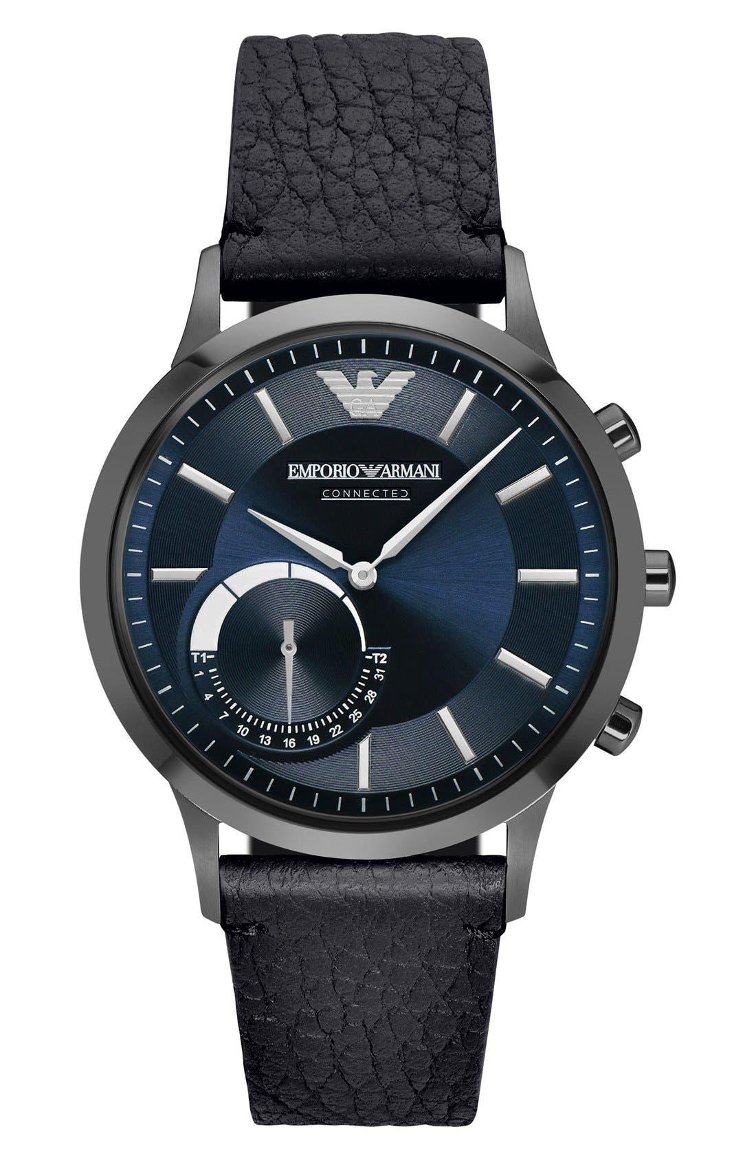 Leather Strap Hybrid Smart Watch, 43mm,                             Main thumbnail 1, color,                             Black/ Blue