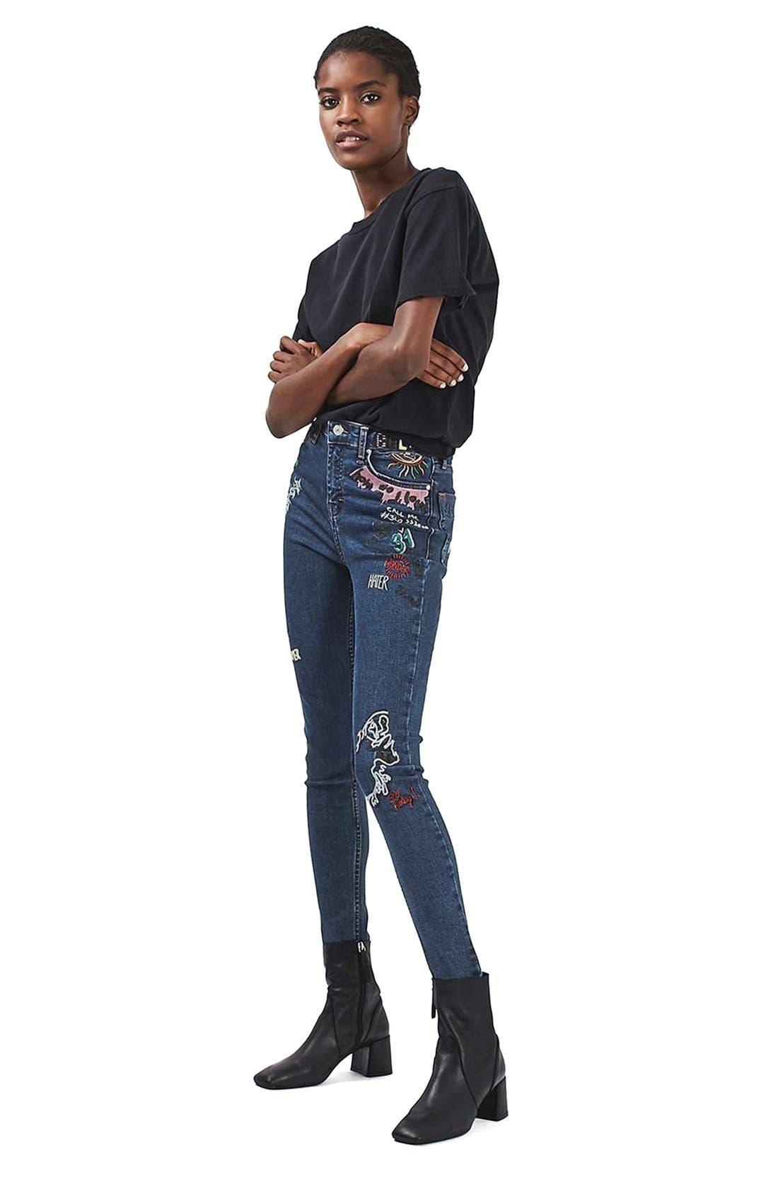 Alternate Image 2  - Topshop Jamie Scribble High Rise Skinny Jeans