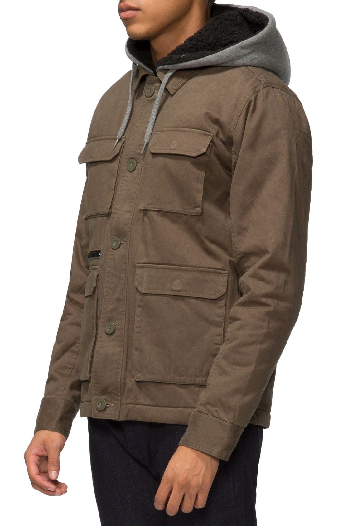 Droogs Plus Field Jacket with Detachable Hood,                             Alternate thumbnail 3, color,                             Olive/ Heather Grey
