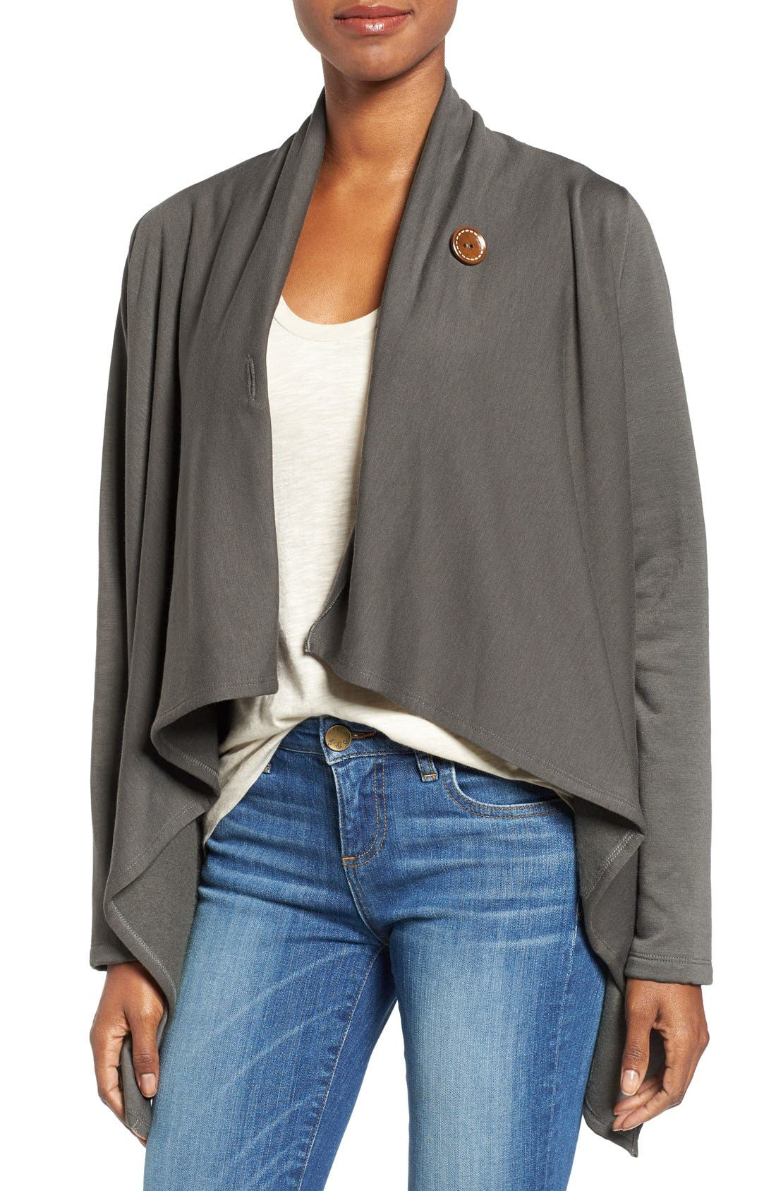 Bobeau One-Button Fleece Wrap Cardigan (Regular & Petite)