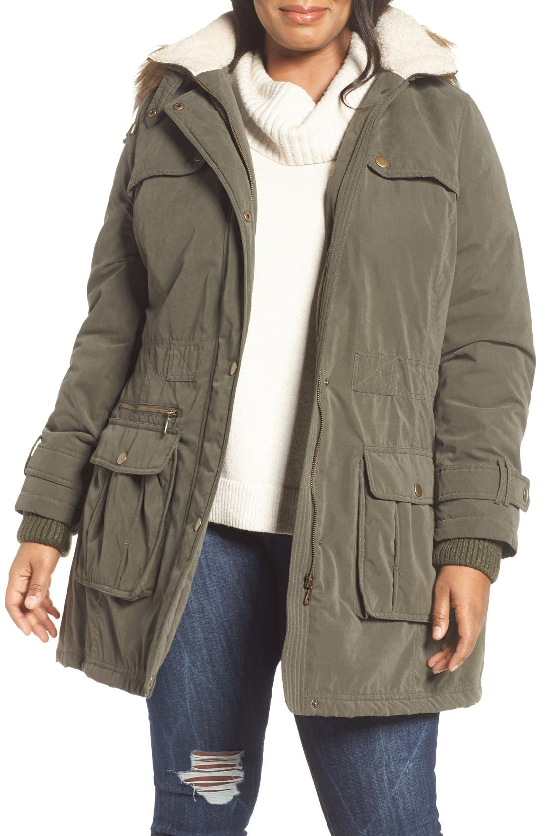 Hooded Parka with Faux Fur Trim,                         Main,                         color, Olive