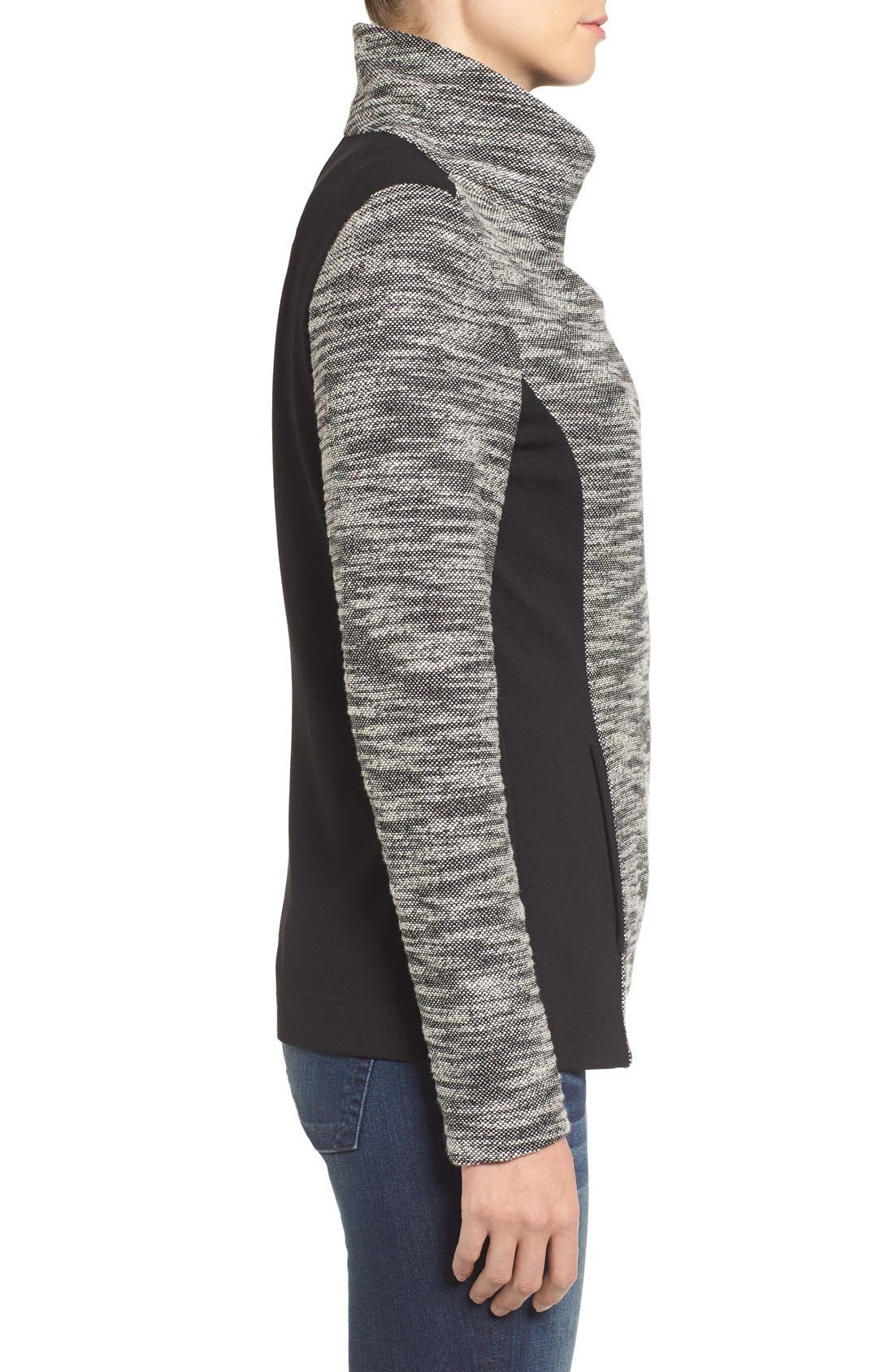 Alternate Image 4  - Two by Vince Camuto Asymmetrical Mixed Media Jacket (Regular & Petite)