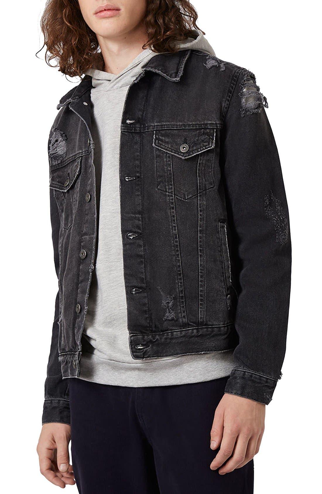 Distressed Denim Jacket,                         Main,                         color, Black