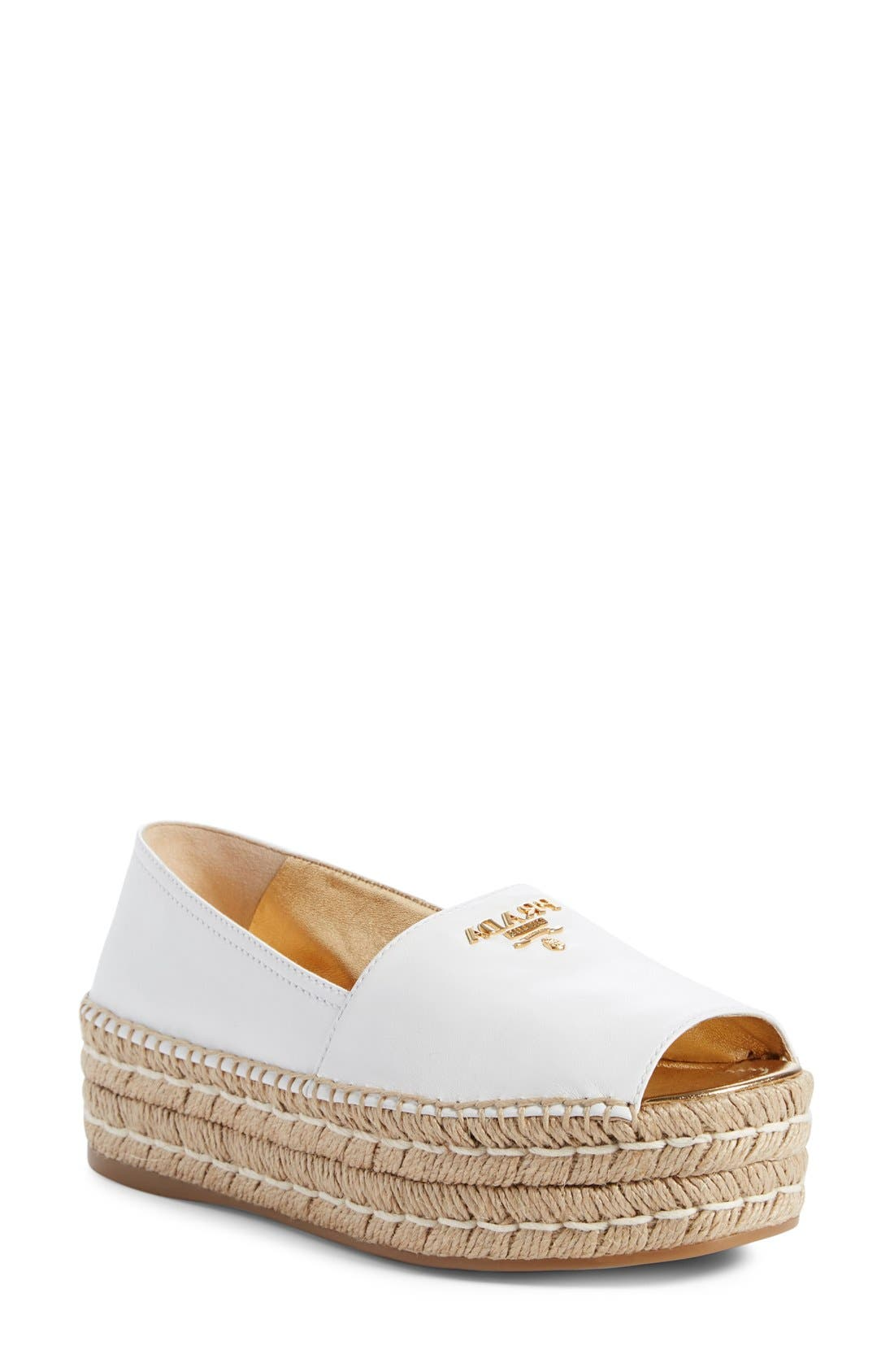 Peep Toe Flatform Espadrille,                             Main thumbnail 1, color,                             White