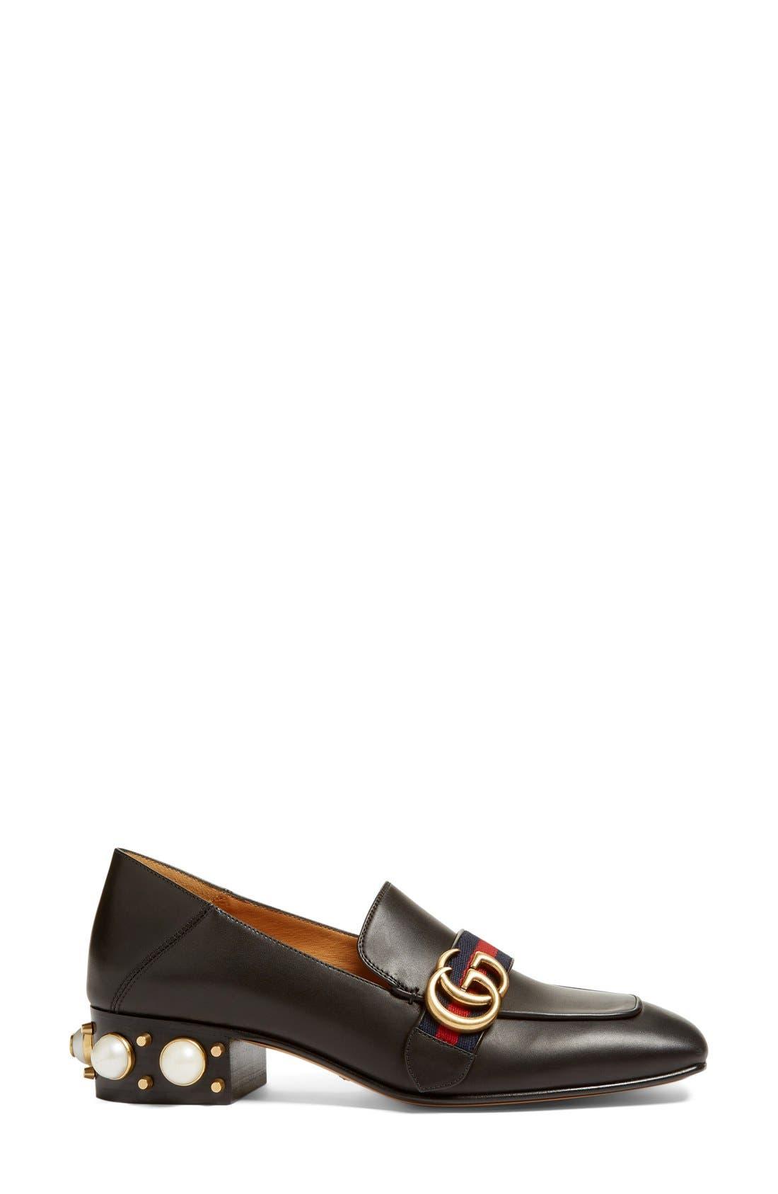 Peyton Embellished Heel Loafer,                             Alternate thumbnail 3, color,                             Black Leather