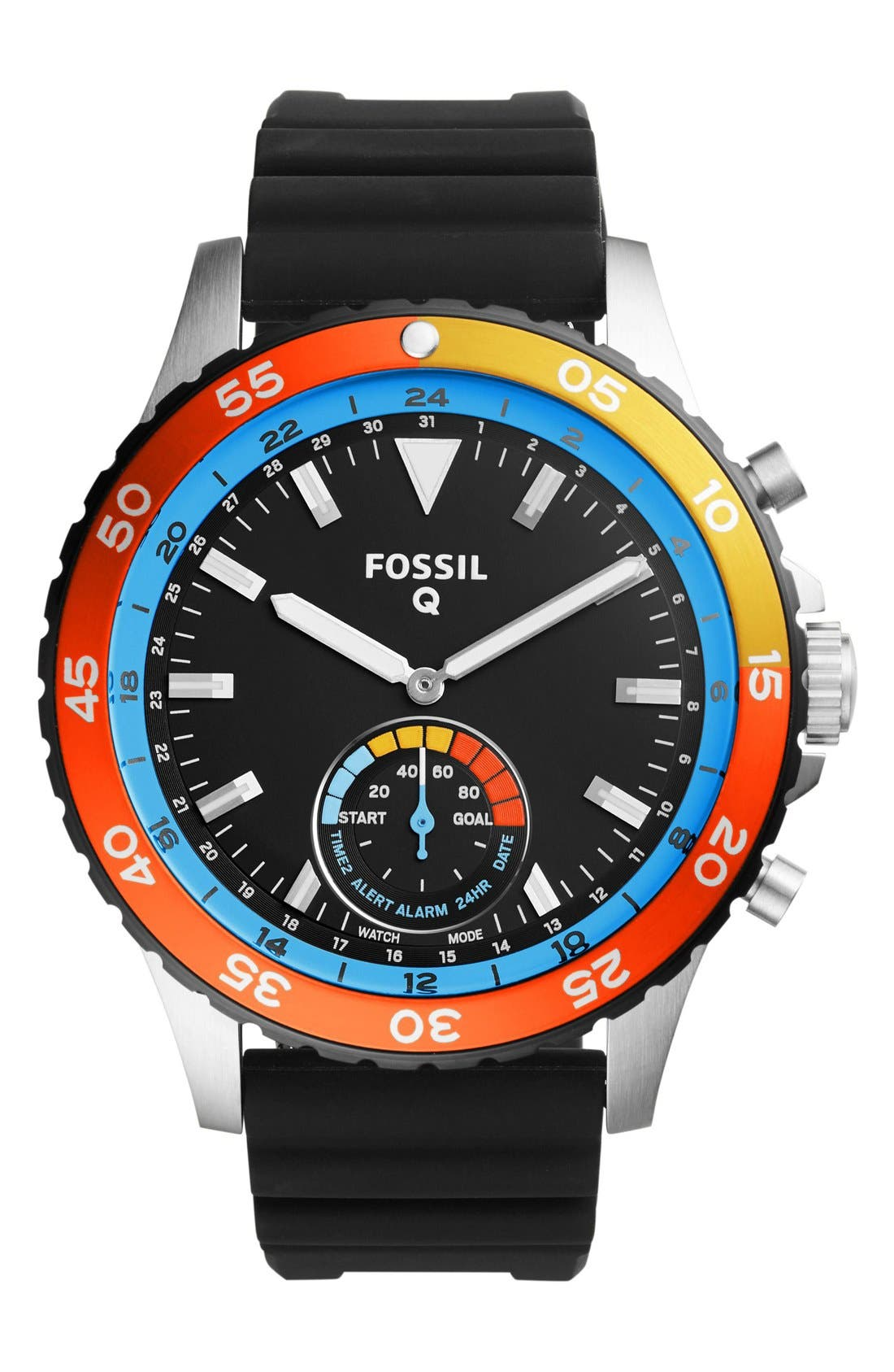 Alternate Image 1 Selected - Fossil Q Crewmaster Silicone Strap Smart Watch, 46mm