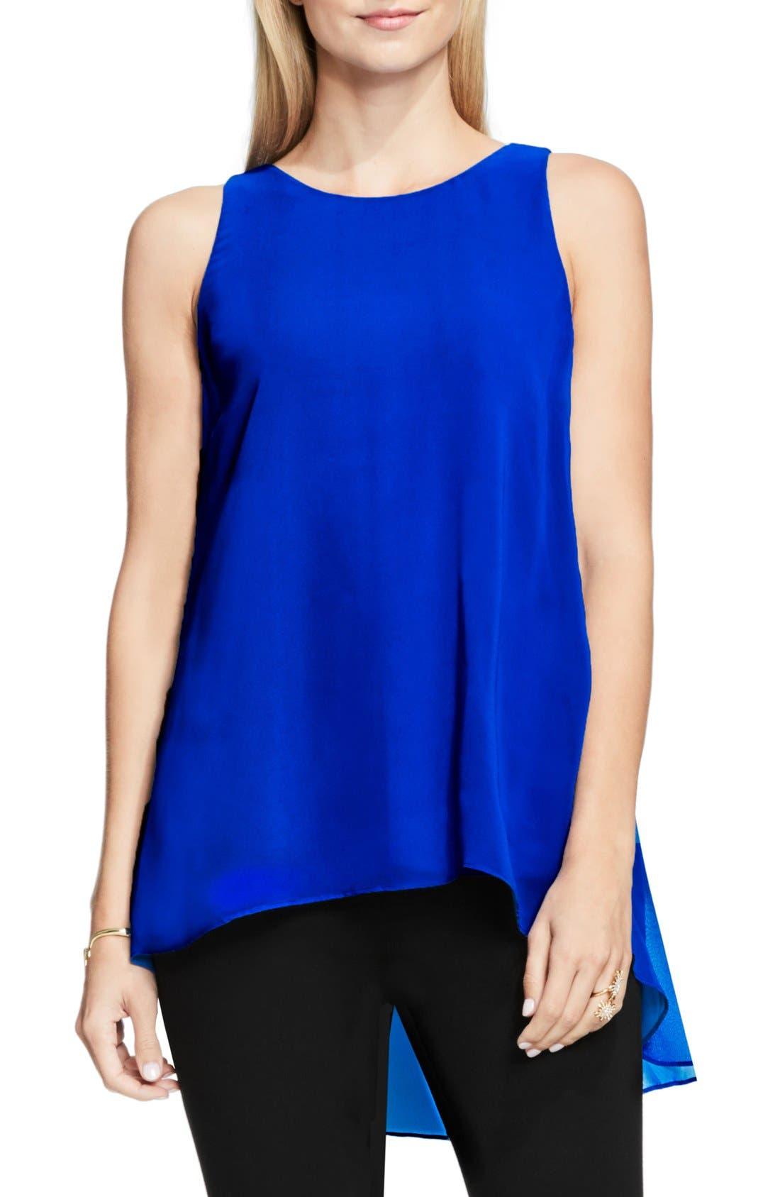 Sleeveless Crepe High/Low Top,                         Main,                         color, Bold Cobalt