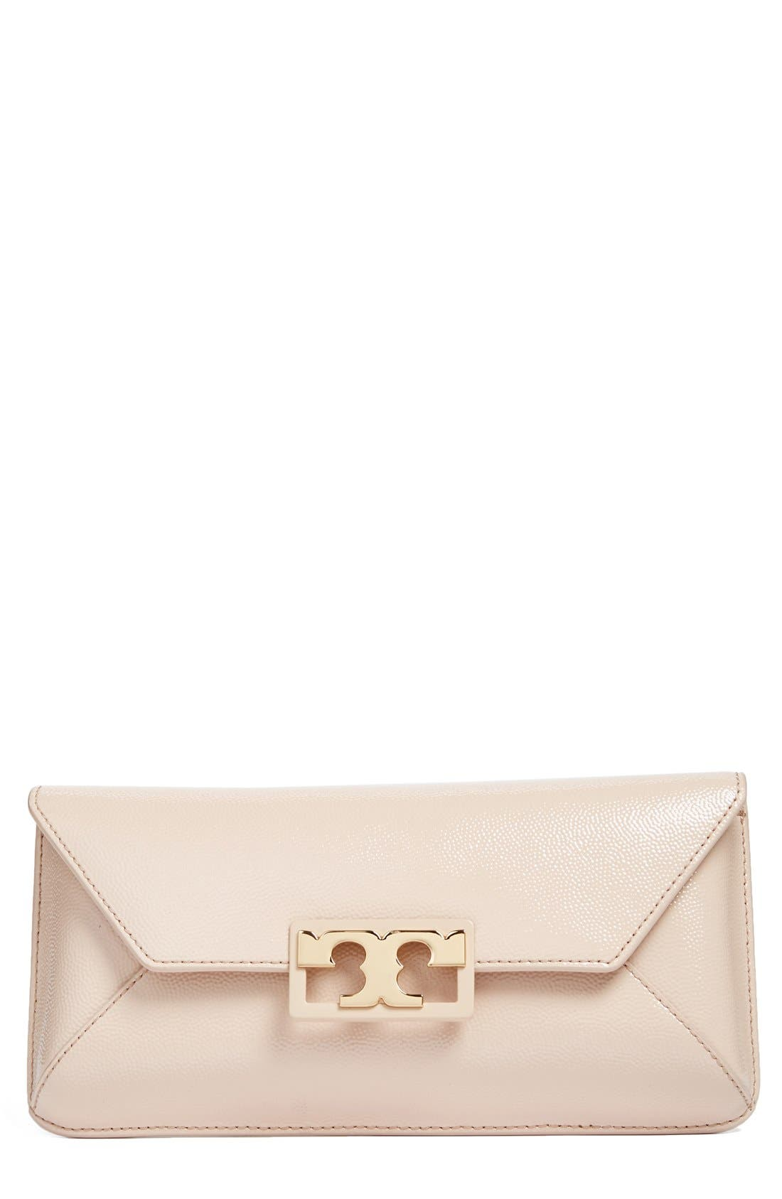Tory Burch Gigi Caviar Leather Clutch