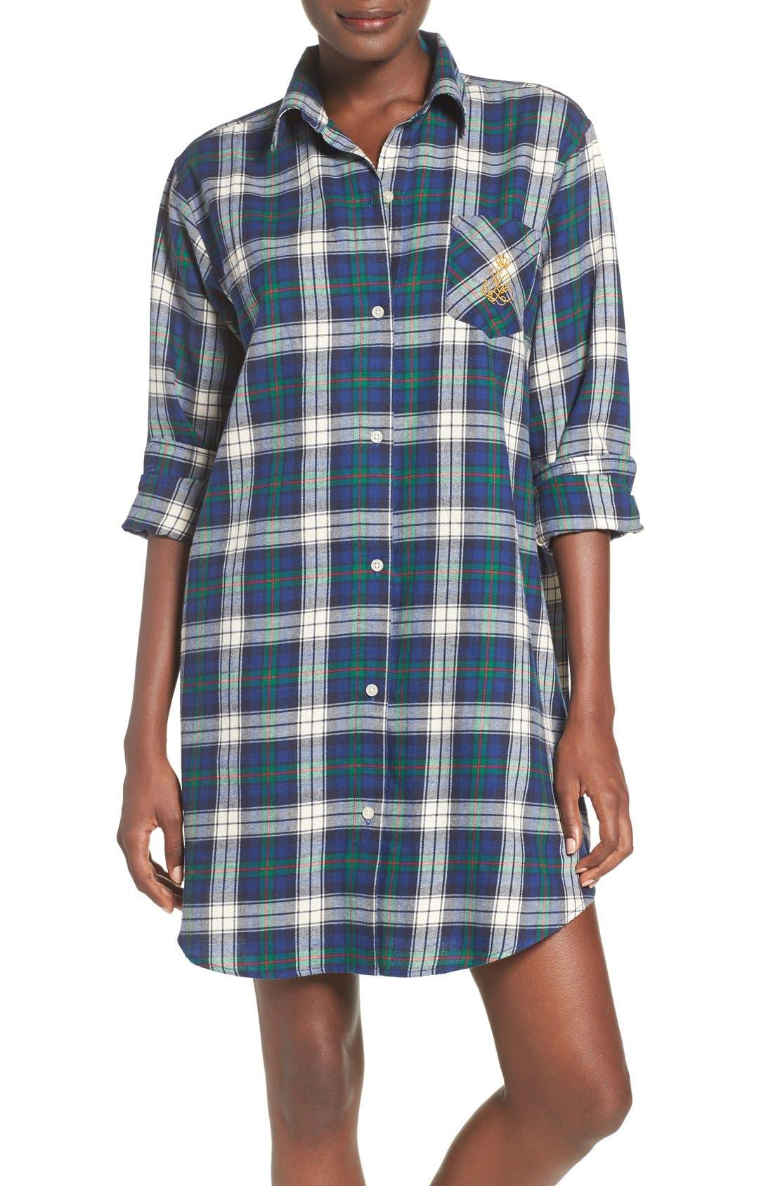 Plaid Woven Sleep Shirt,                             Main thumbnail 1, color,                             Plaid Cream/ Blue/ Green