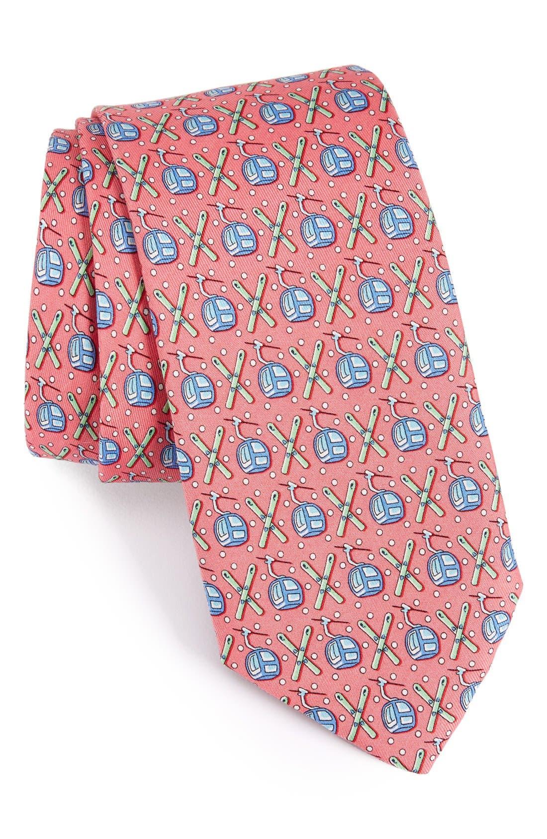 Gondola & Skis Silk Tie,                         Main,                         color, Raspberry