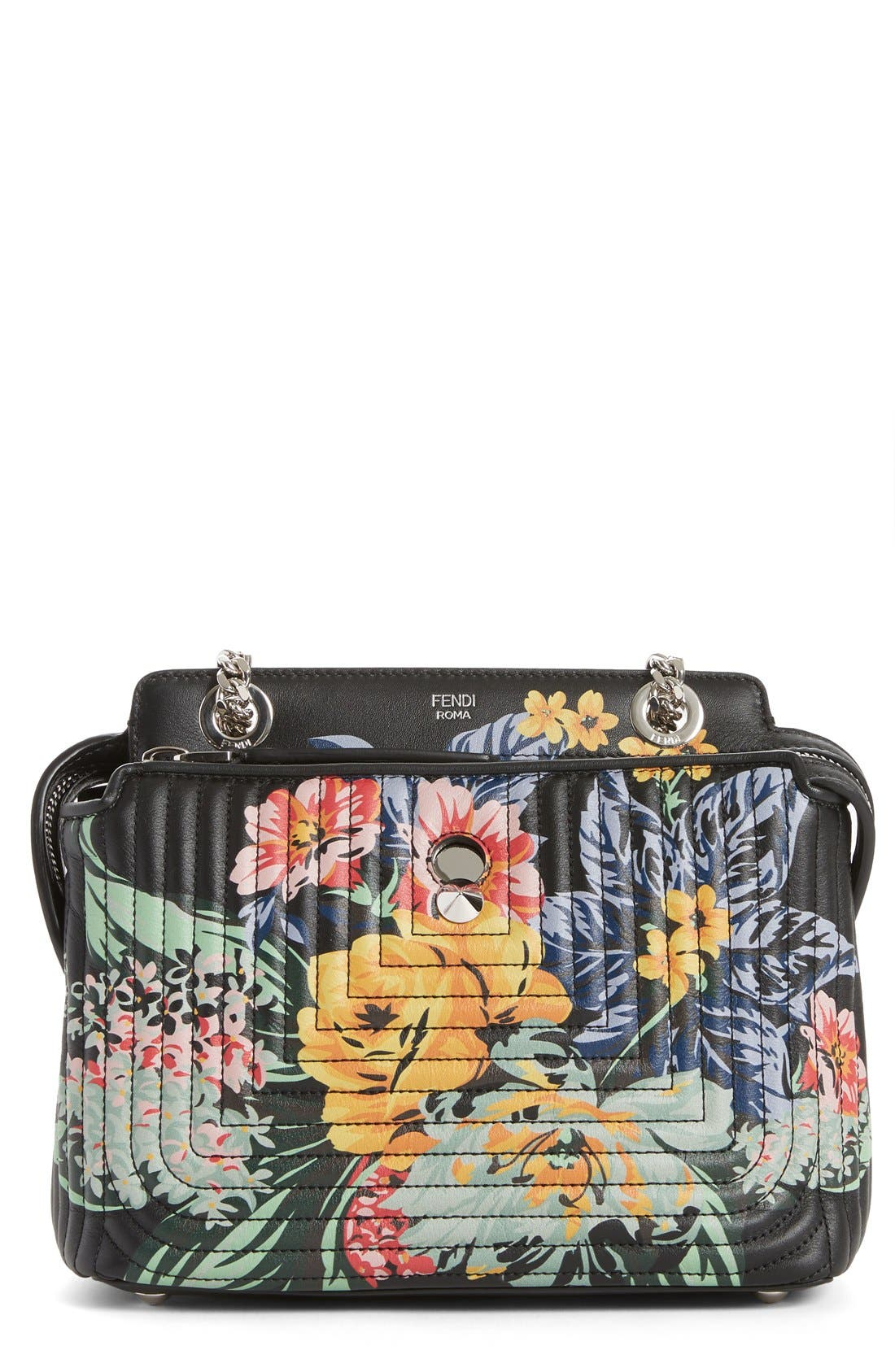 Alternate Image 1 Selected - Fendi DOTCOM Click Flower Quilted Leather Shoulder Bag