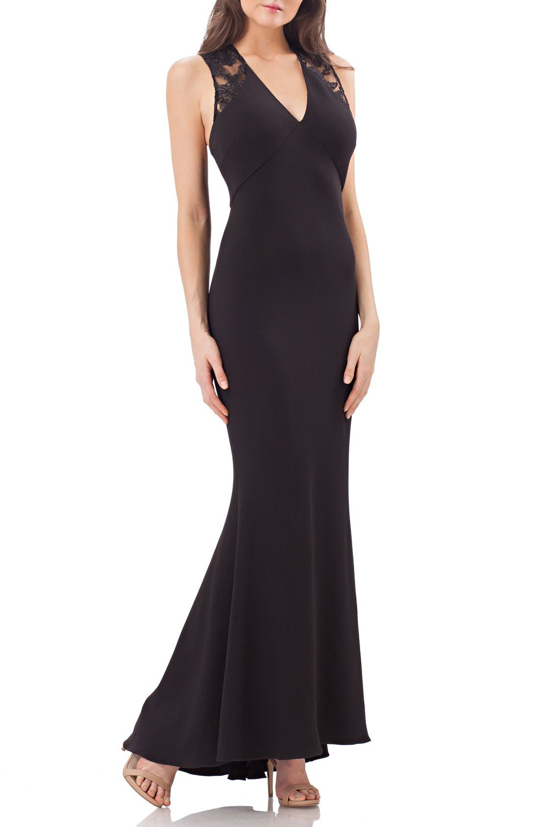 Ottoman Mermaid Gown,                         Main,                         color, Black