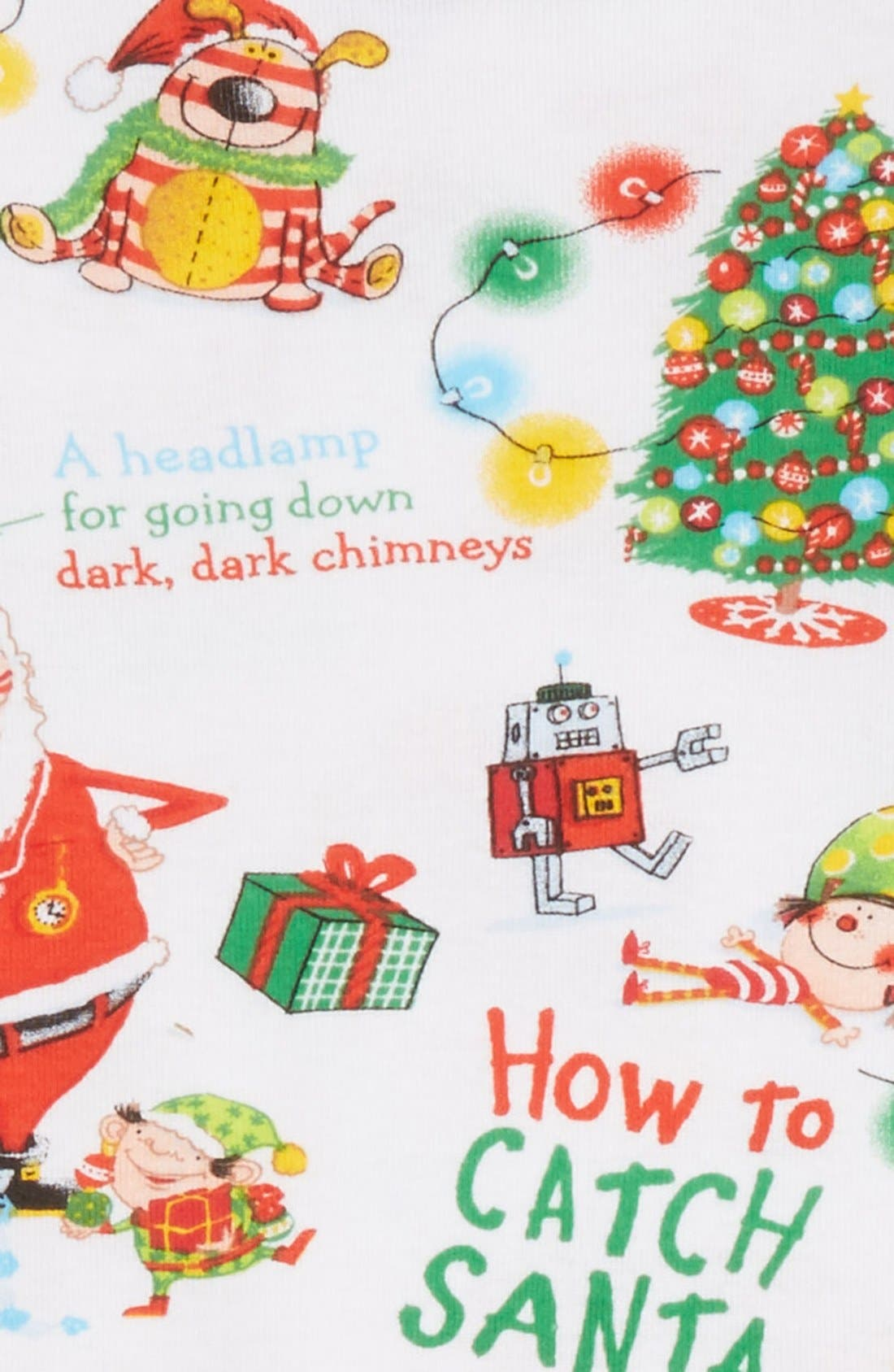 How to Catch a Santa Fitted Two-Piece Pajamas & Book Set,                             Alternate thumbnail 2, color,                             White