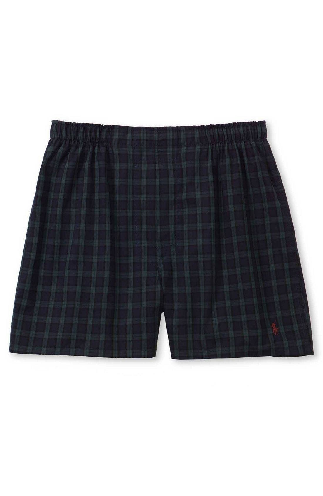 Plaid Woven Boxer Shorts,                             Main thumbnail 1, color,                             Blackwatch
