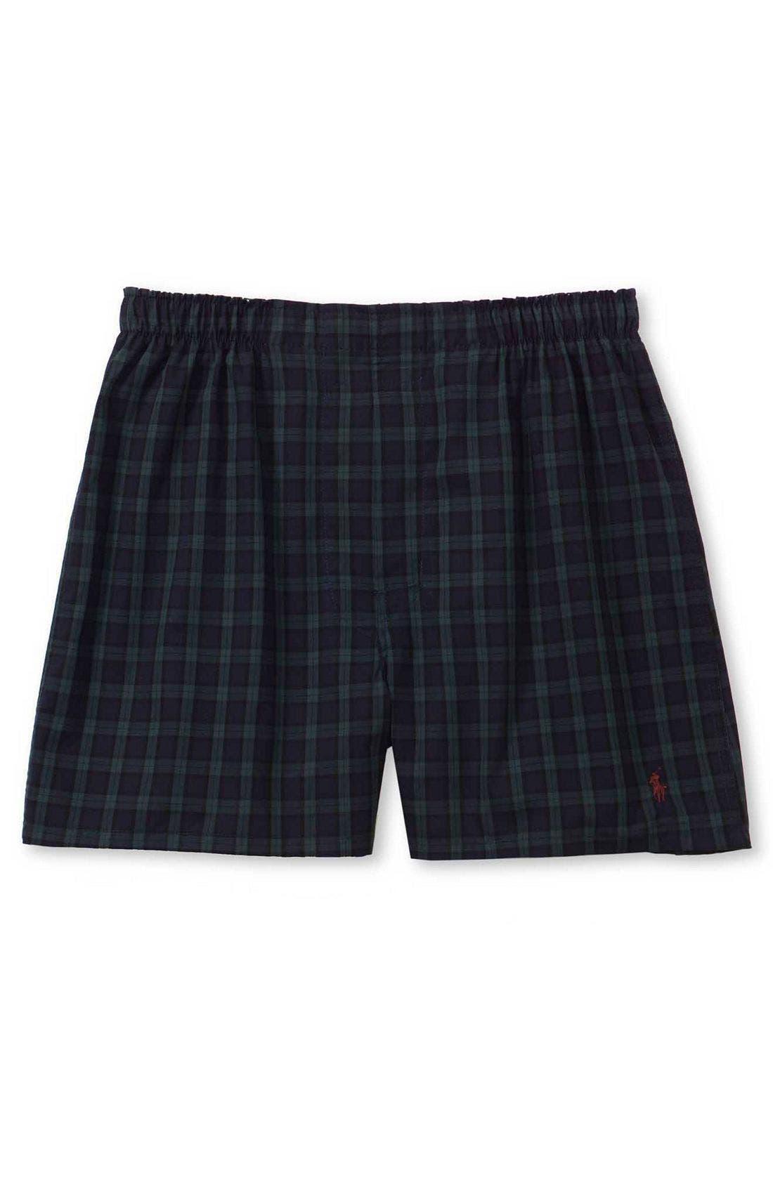 Plaid Woven Boxer Shorts,                         Main,                         color, Blackwatch